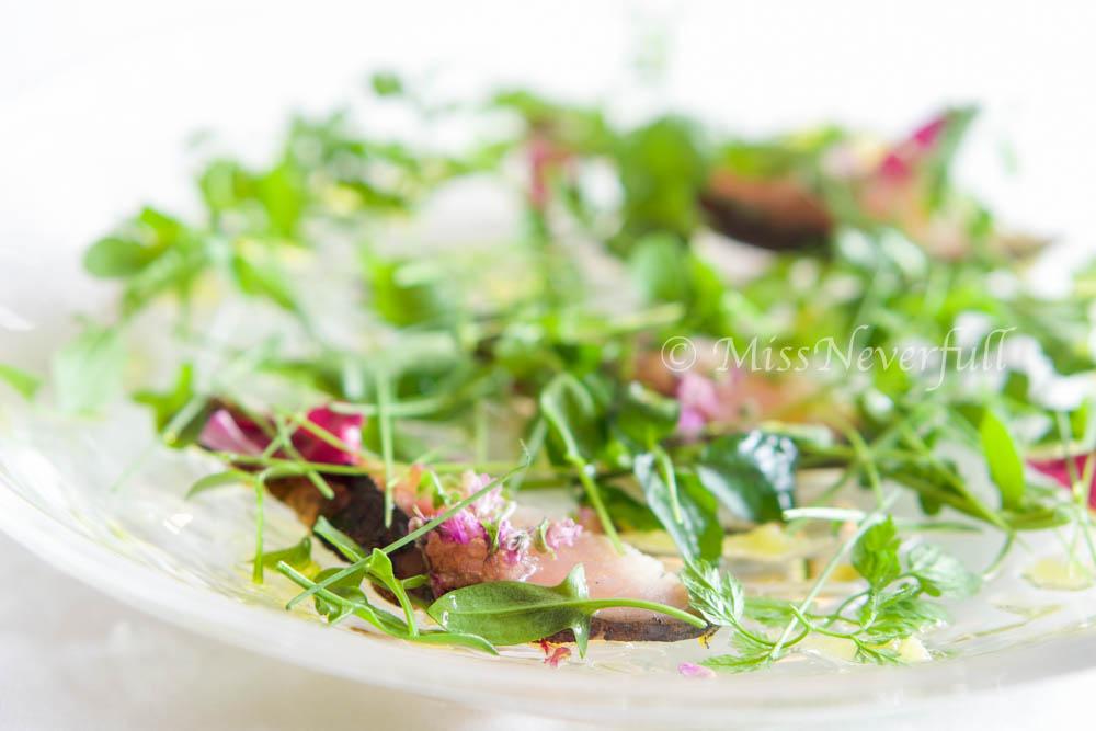 1. Saba, horseradish puree, fish roe and greens