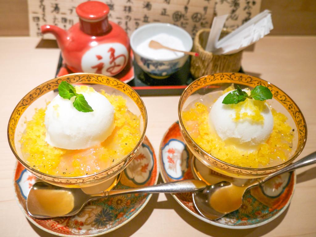 peach jelly with yuzu sorbet - very refreshing