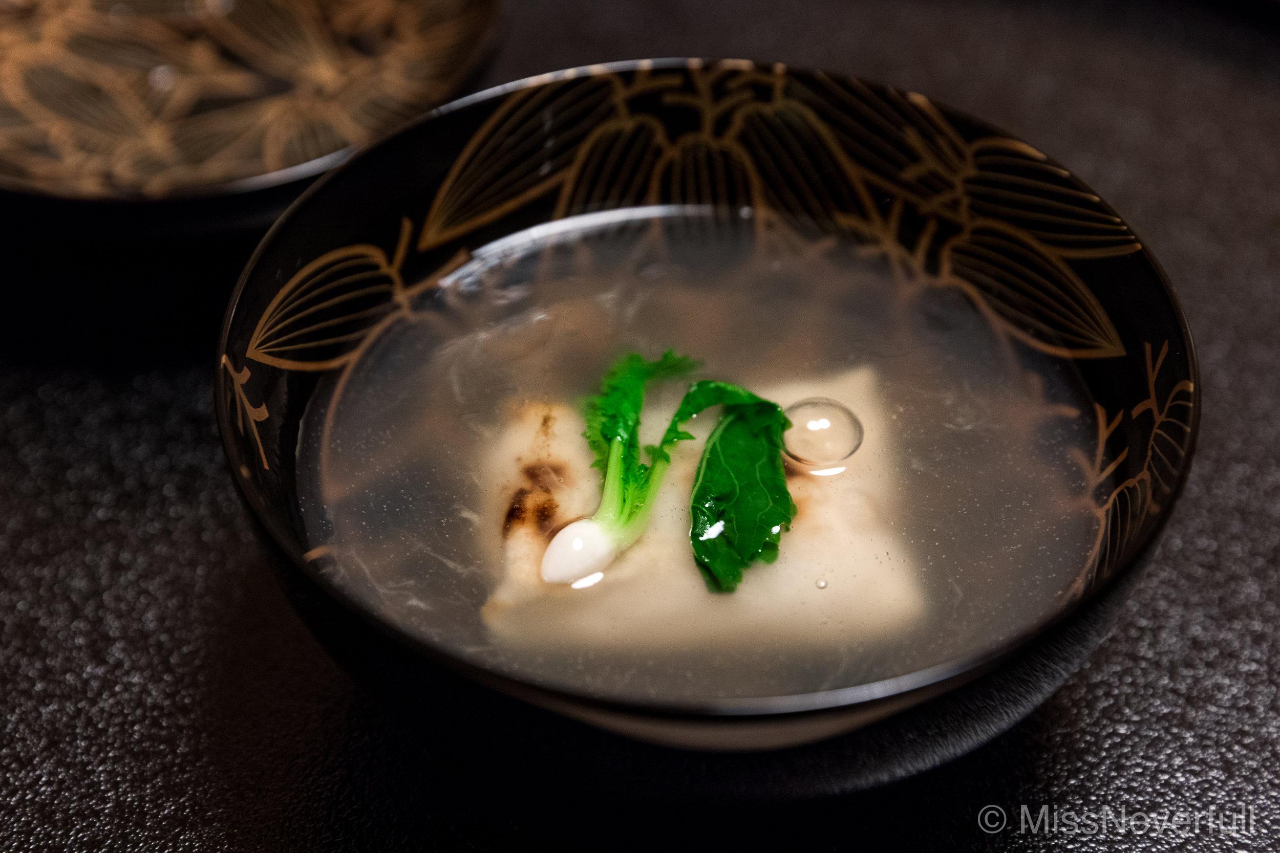 5. Owan (soup): Karasumi-mochi with yodo-daikon