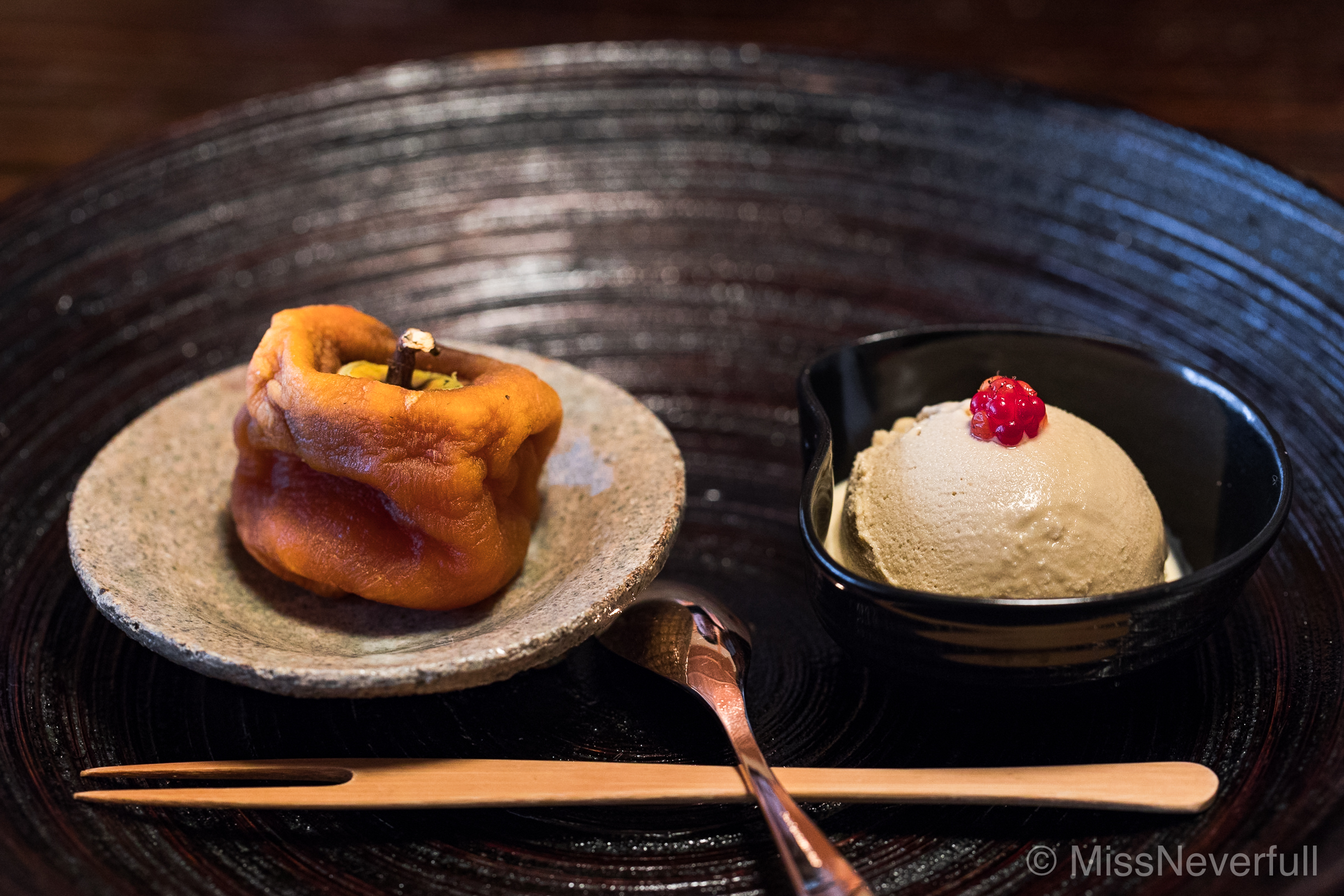 10. Dried persimmon and ice cream