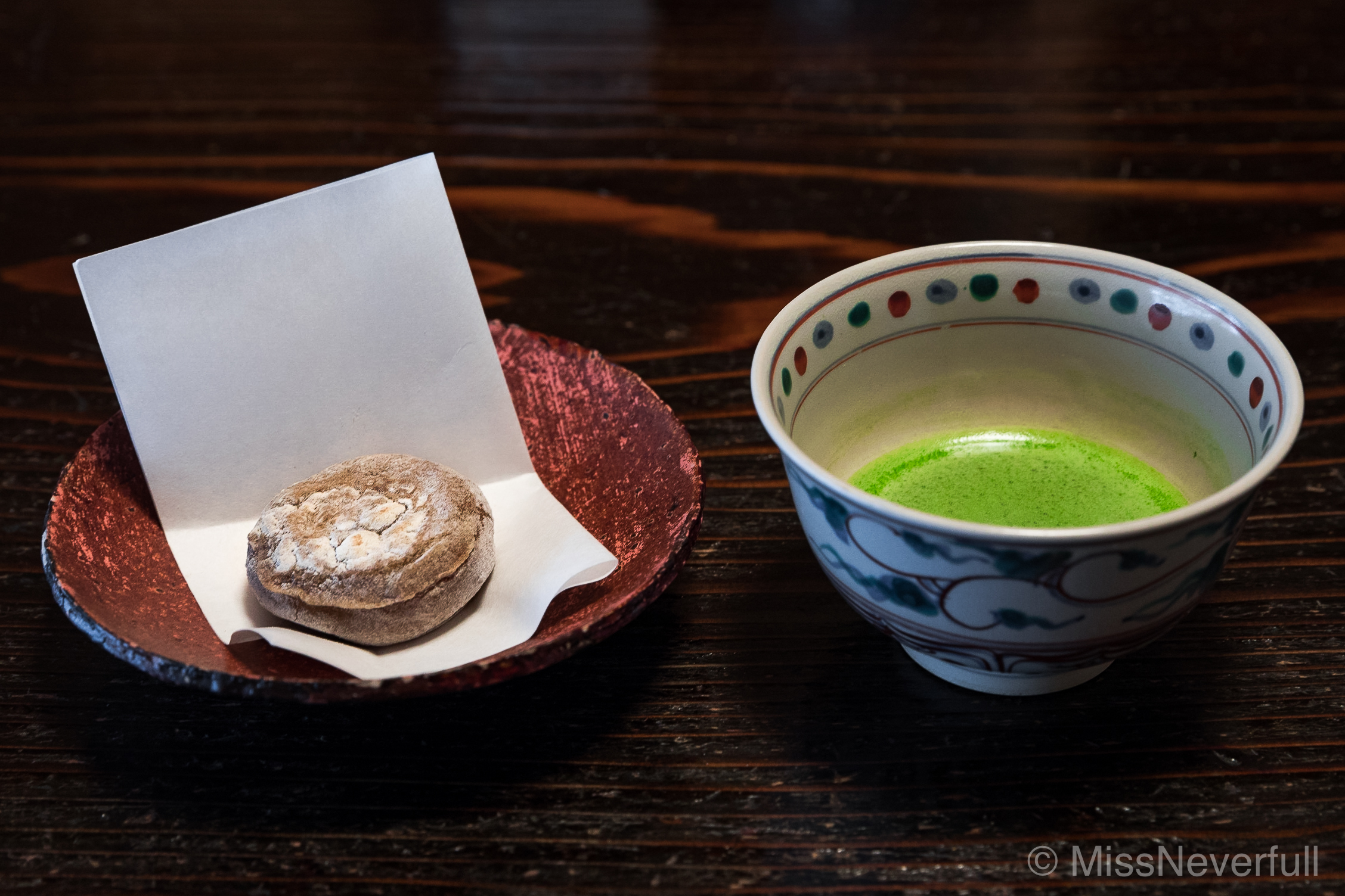 11. Tochi-mochi filled with red bean puree, side by matcha