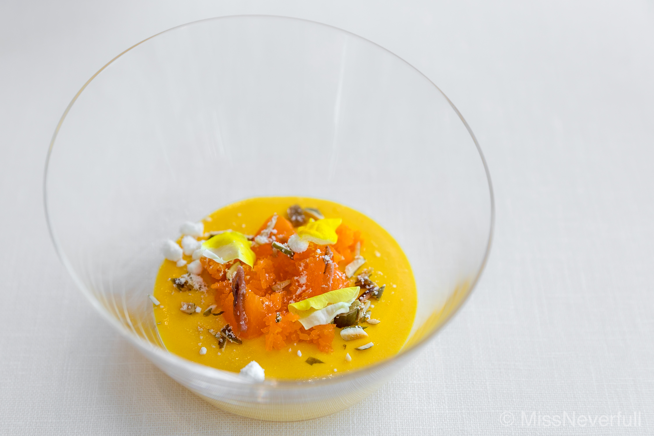 2.  Kabocha (Japanese pumpkin) Mousse with Mikan, anchovy, carrot, and olive oil sorbet