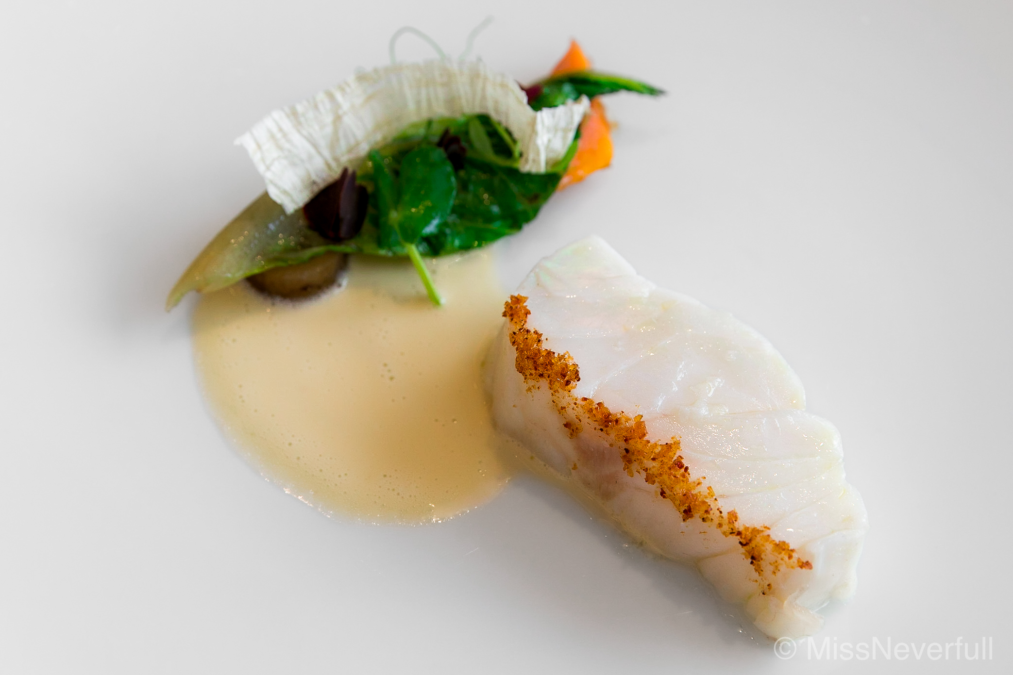 5. Kue (grouper), Sauce of white wine, crab consomme and wasabi