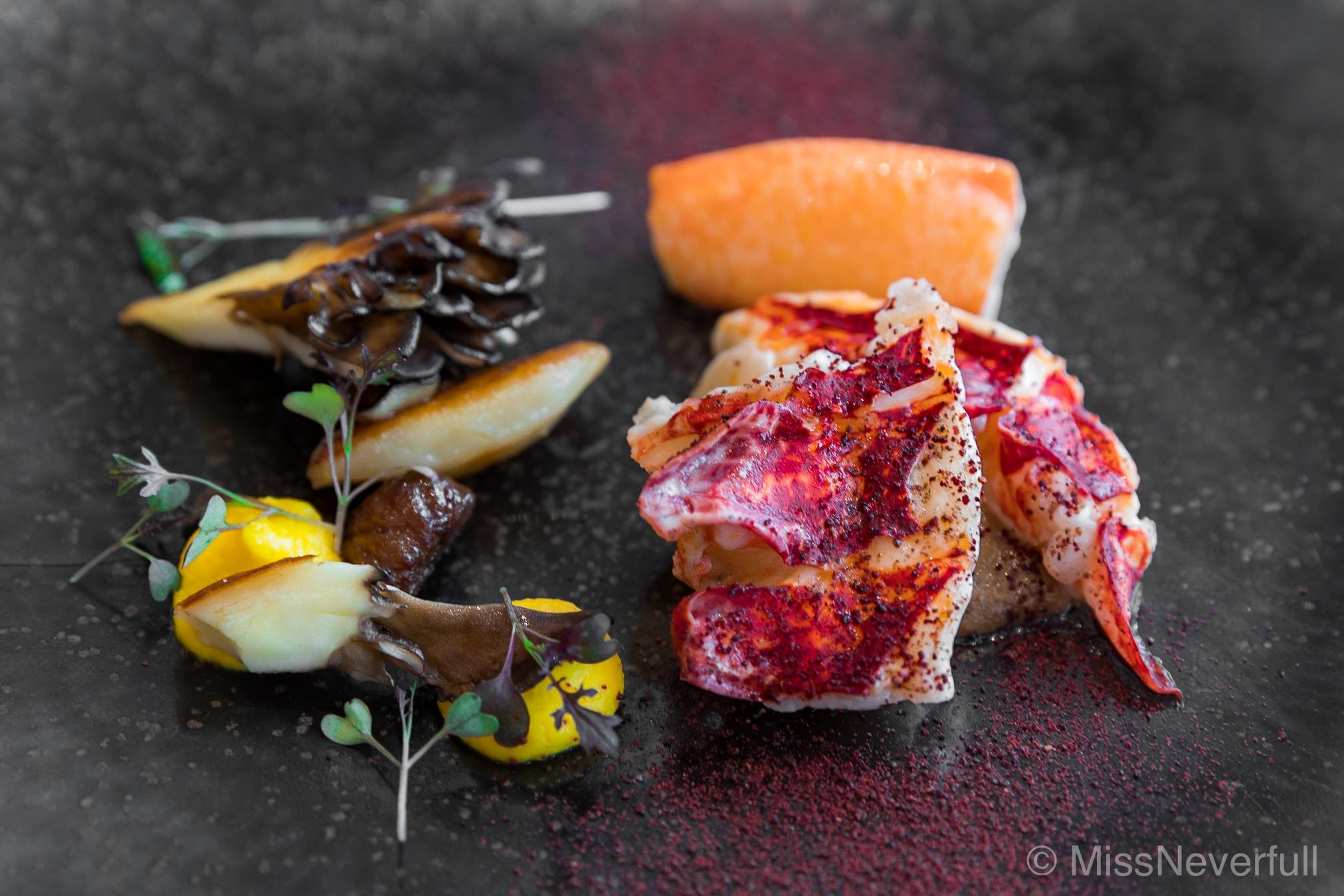 6. Blue lobster from France, Spice from Kochiken, Maitake mushroom