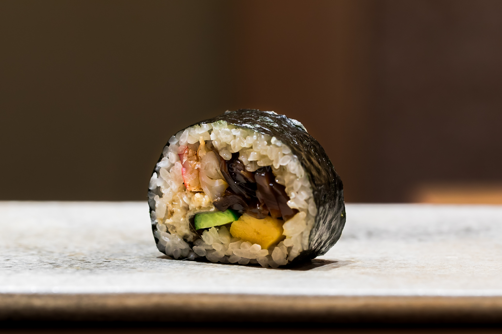 13. Futomaki - with crab, kanpyo, cucumber, tamago and anago inside. Tastes as marvelous as it looks!