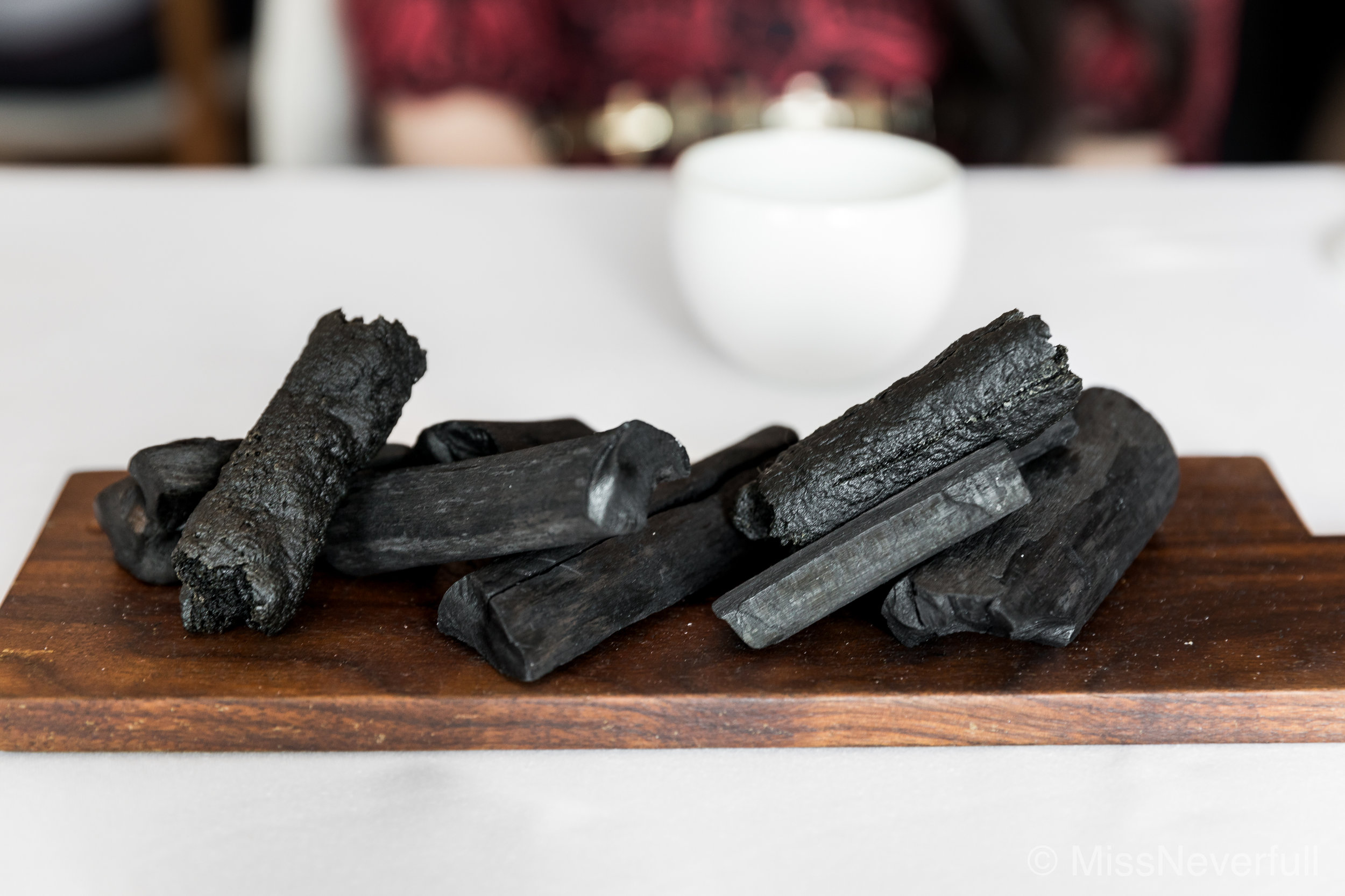 Part 3 of Amuse Bouche: Charcoal bread (only one piece is edible/person), served with a dip sauce of sweet prawn & piquillos