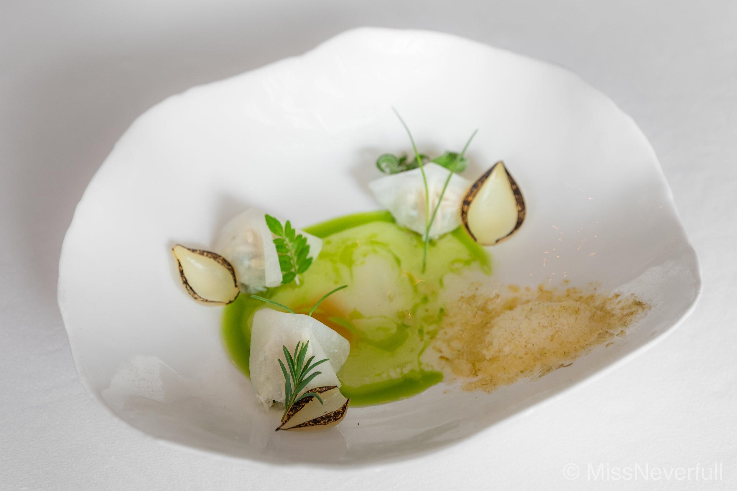 2. PURE: stone crab, leek water, pear snow
