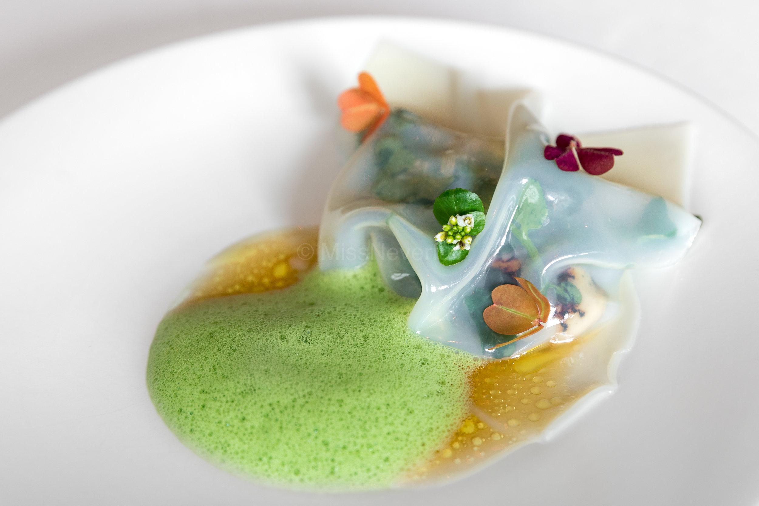 3. SOUTH: caviar aubergine, scallop lasagne, burnt oyster