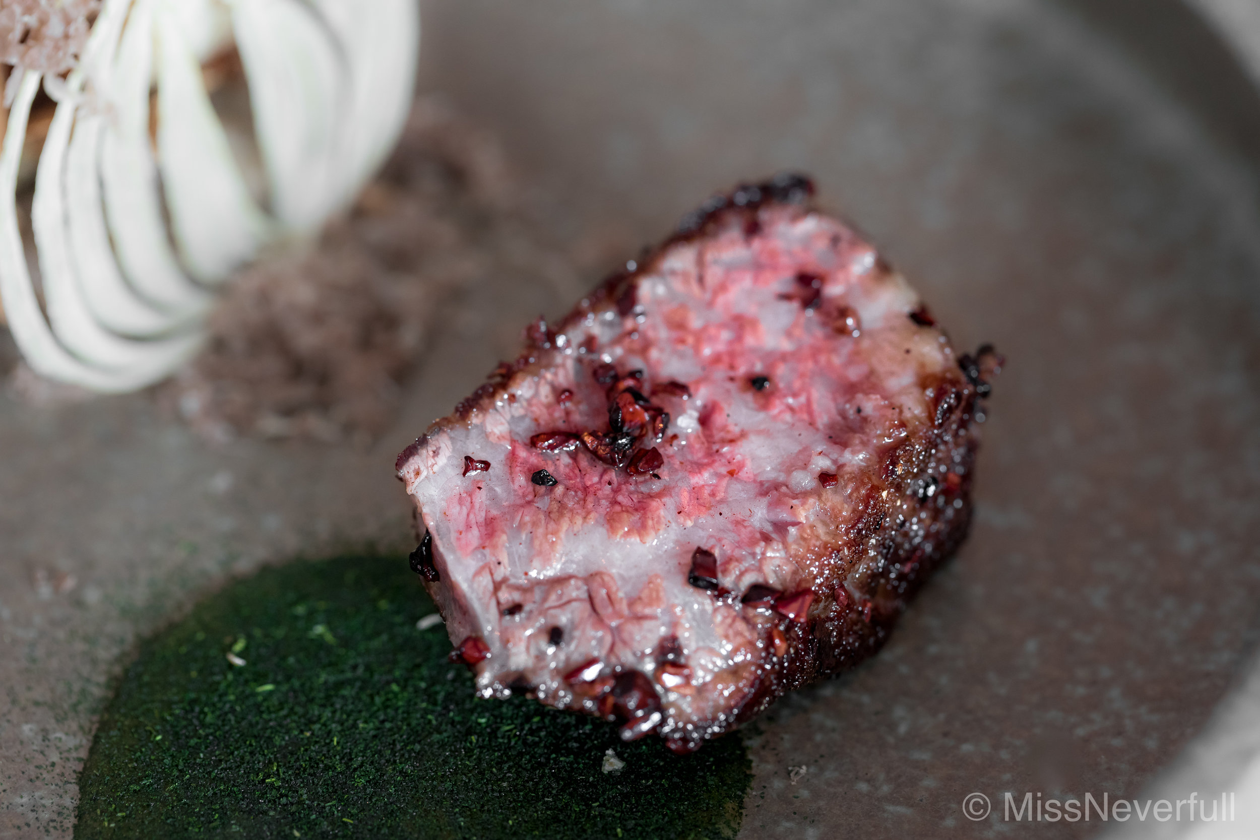 8. TERRIOR: stone-baked wagyu, forest chips, cacao nibs (white truffle 3)
