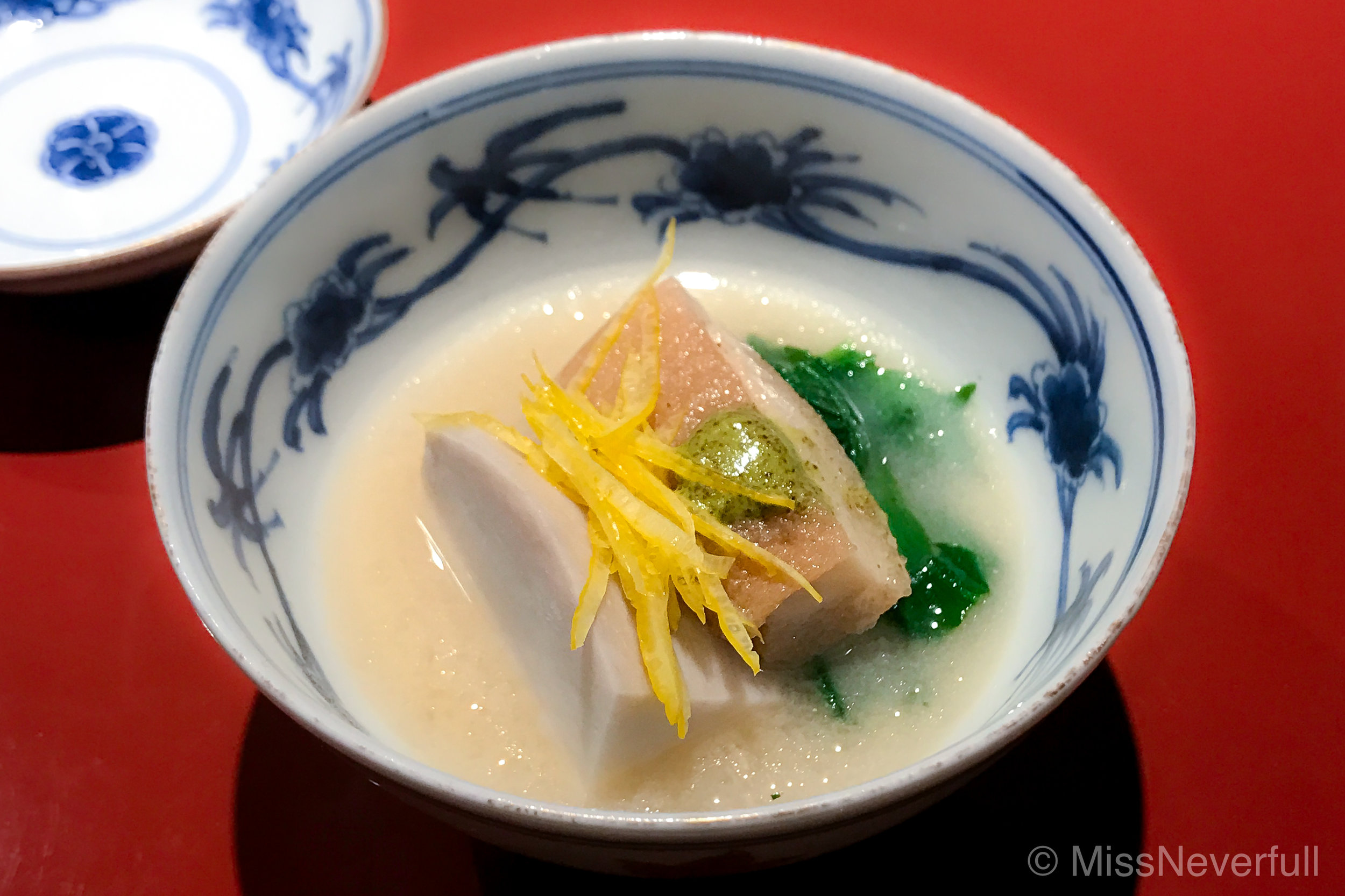 9. White miso soup with ebi-imo