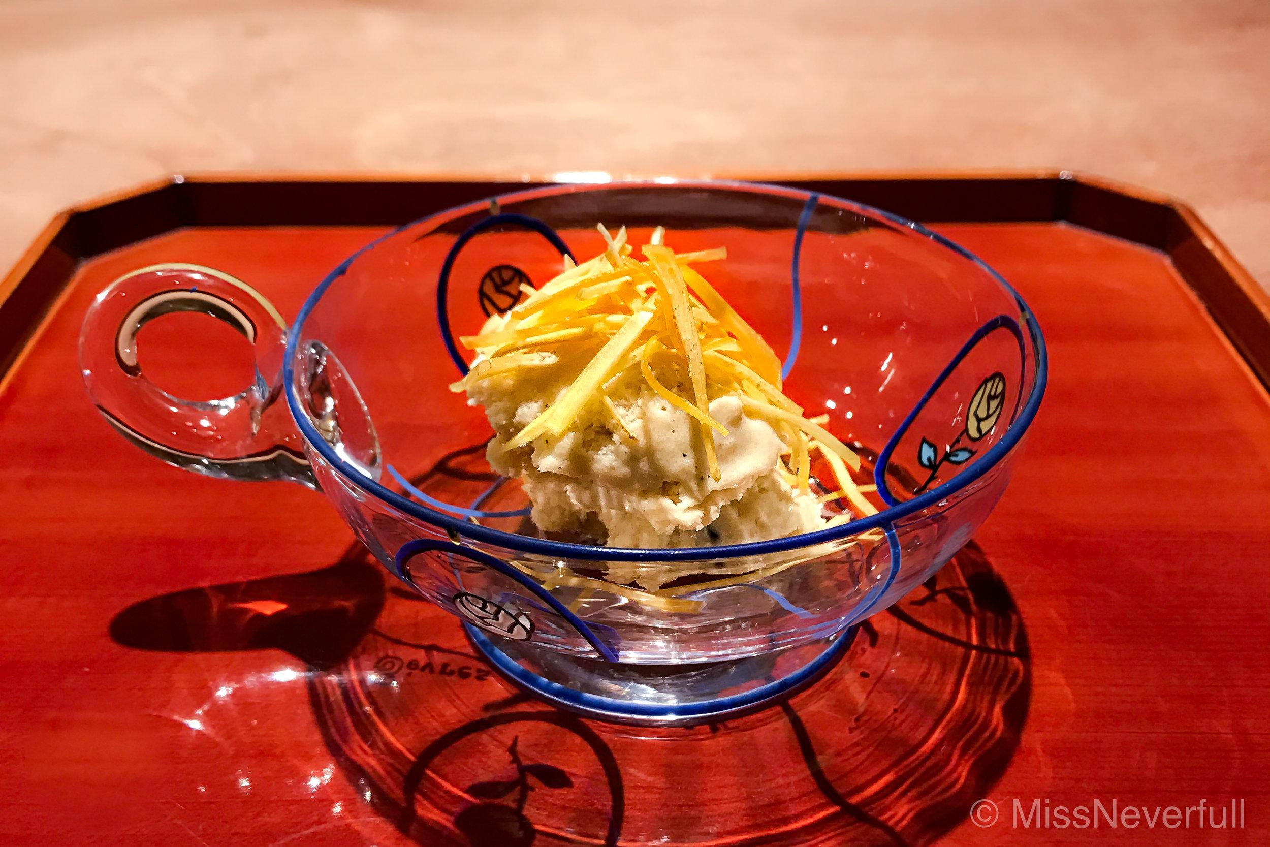11. Dessert: Grilled chestnut ice cream & chestnut chips