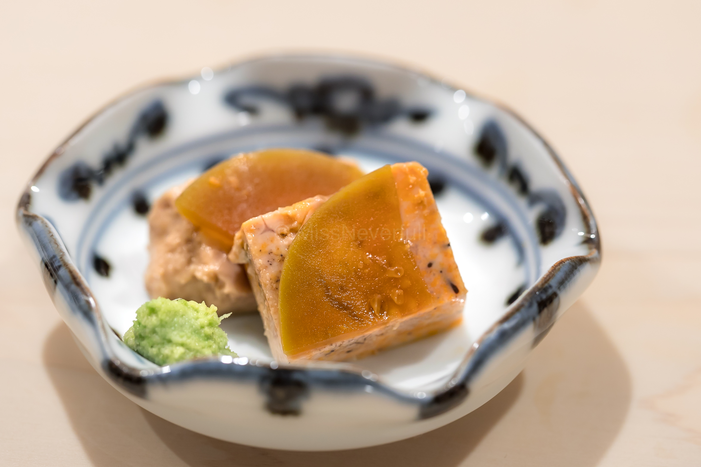 8. Ankimo (monkfish liver) with Nara pickles of baby watermelon
