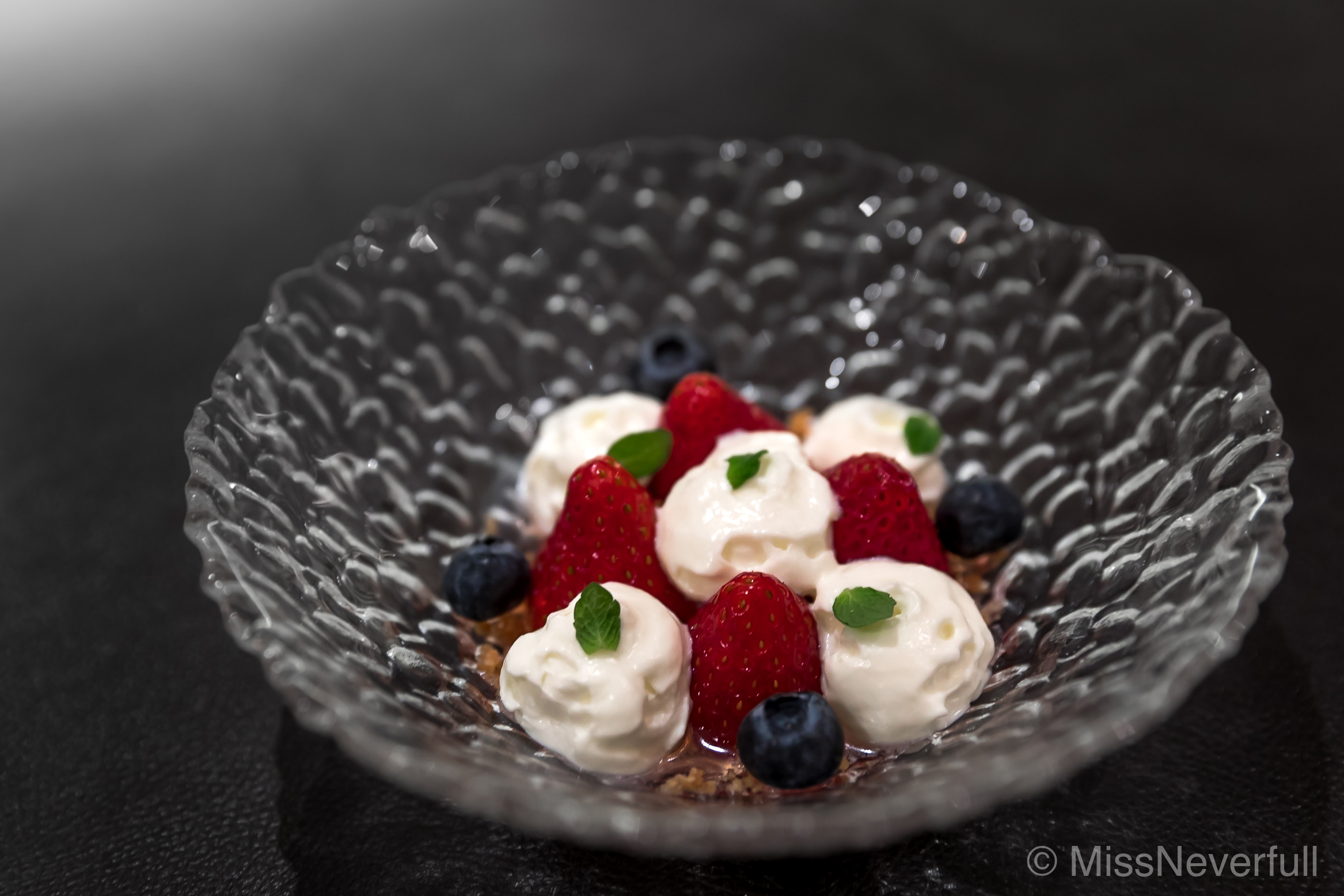 6. Dessert: Vinegar flavored strawberries, Idiazabal cheese mousse
