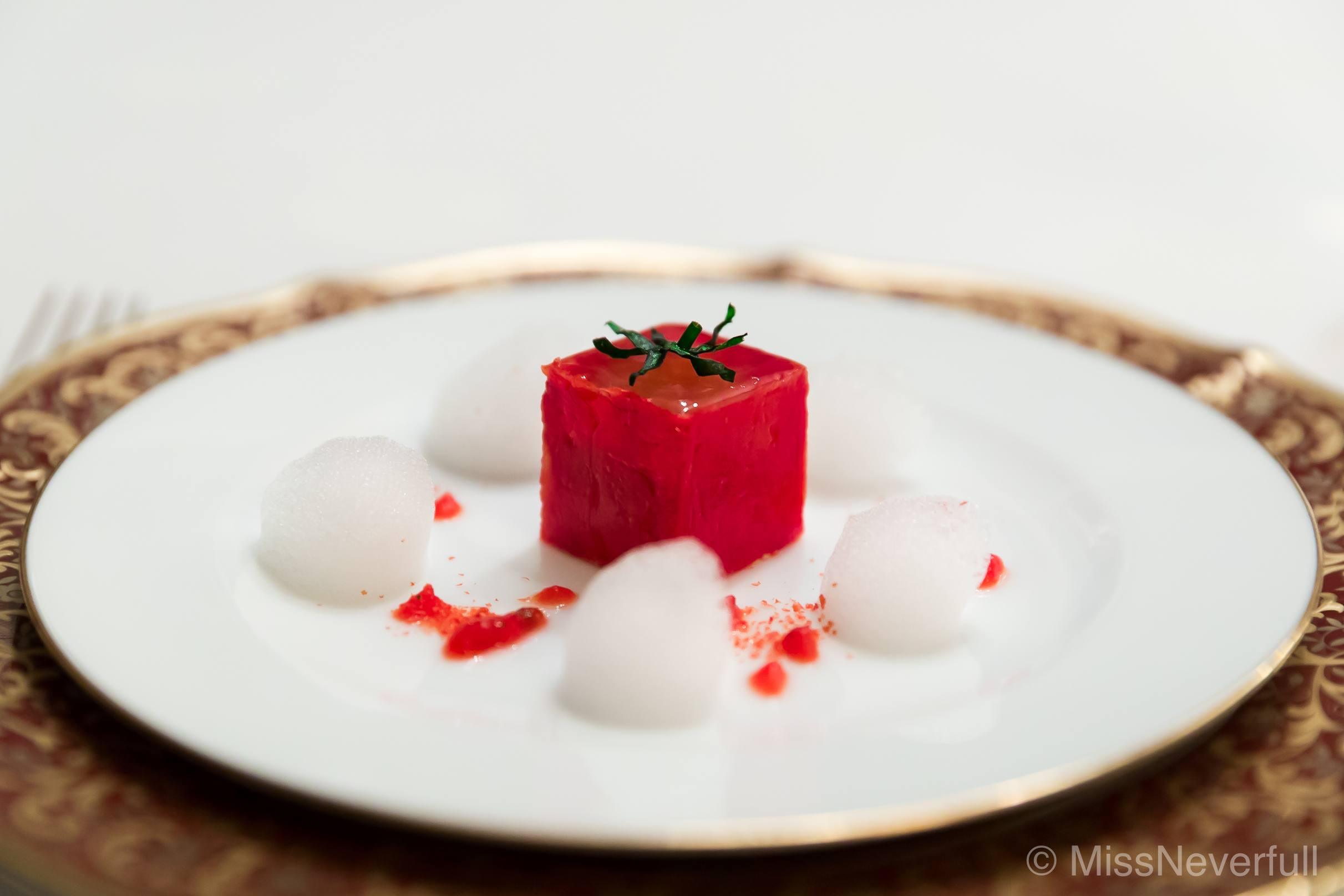 1. Tomato mousse inside tomato jelly with plum oil flavor
