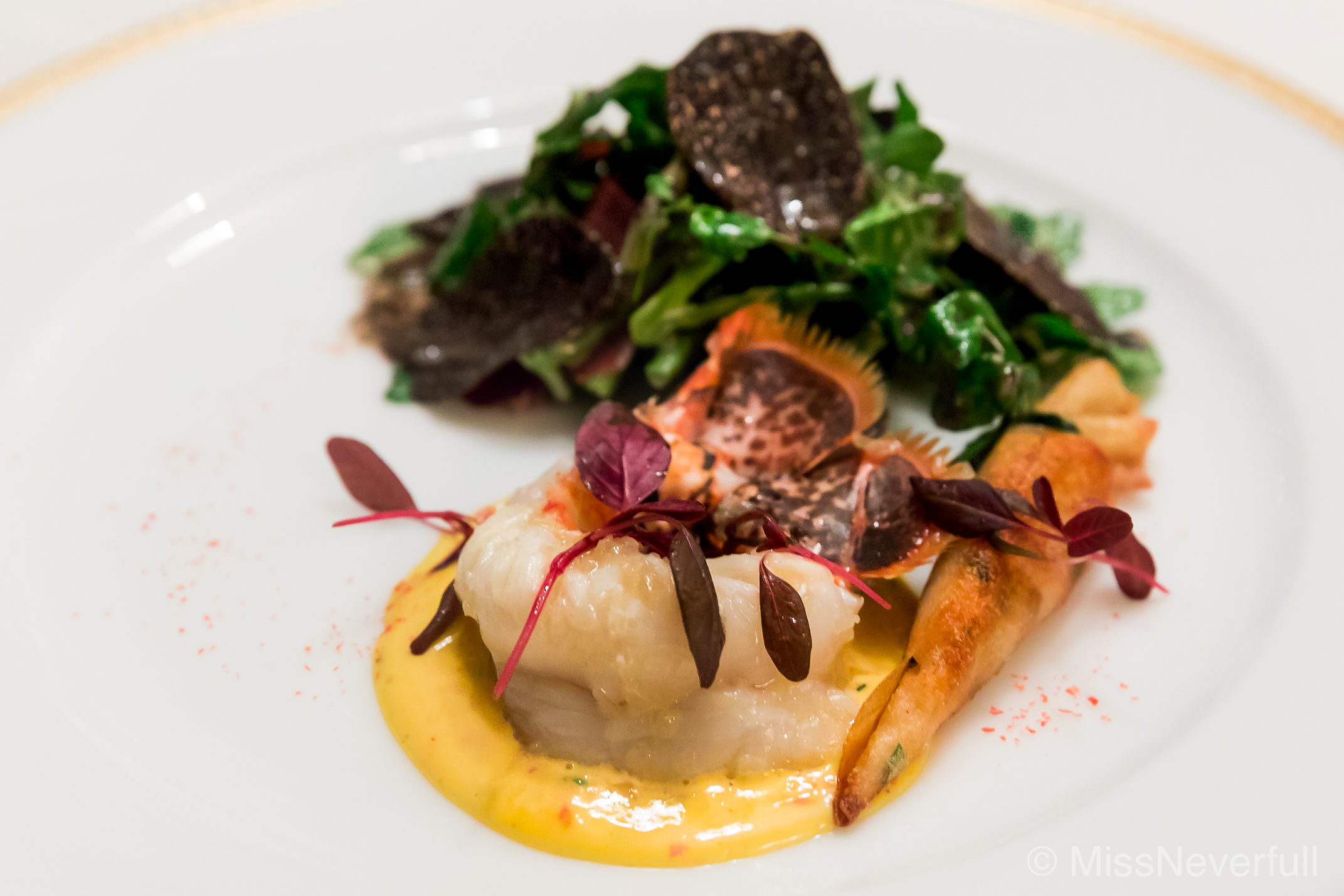 2. Sauteed lobster, seasonal salad with black truffle