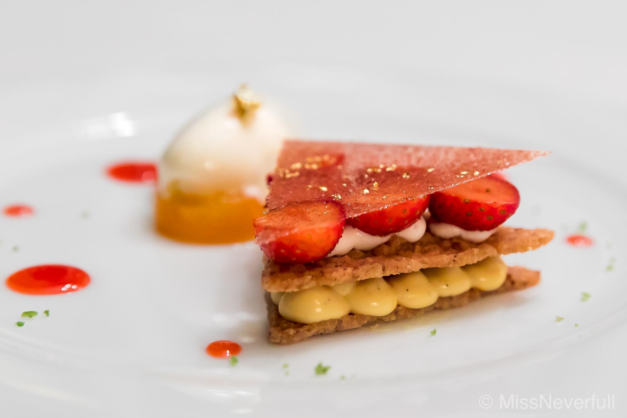 6. Dessert: Marinated strawberry and meringue with yogurt orange sorbet