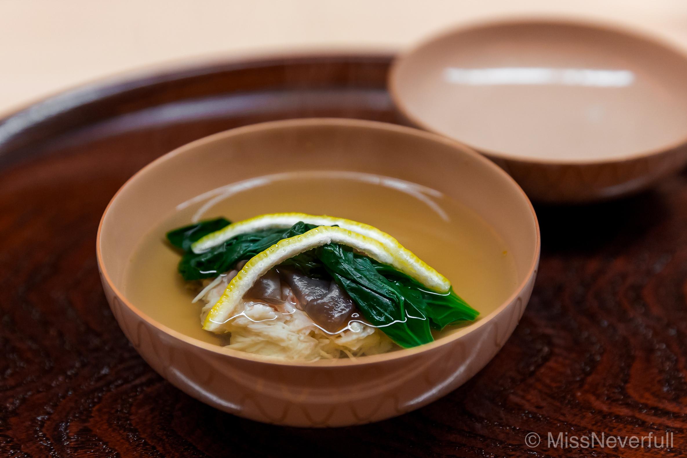 4. Owan: crab shinjo (dumplings), black fungus, spinach