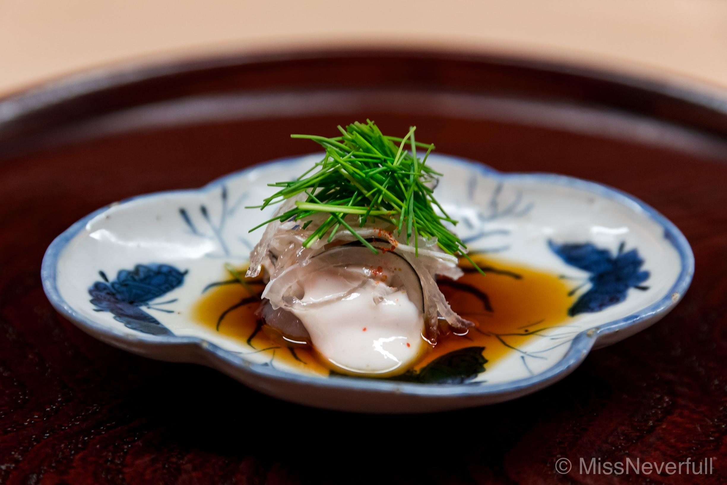 5. Fugu sashimi, shirako, daikon, negi