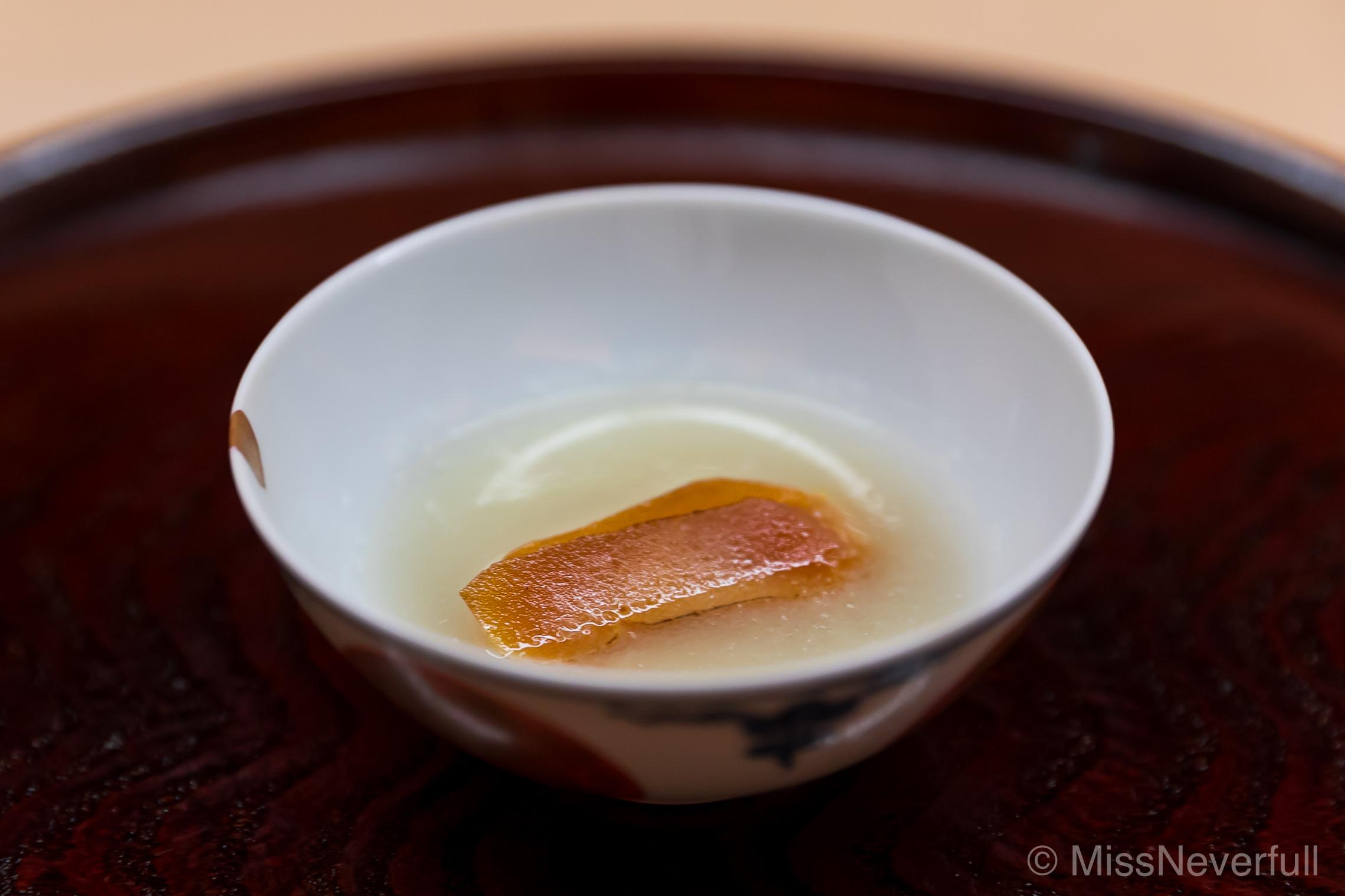 6. Karasumi, grilled mochi, daikon