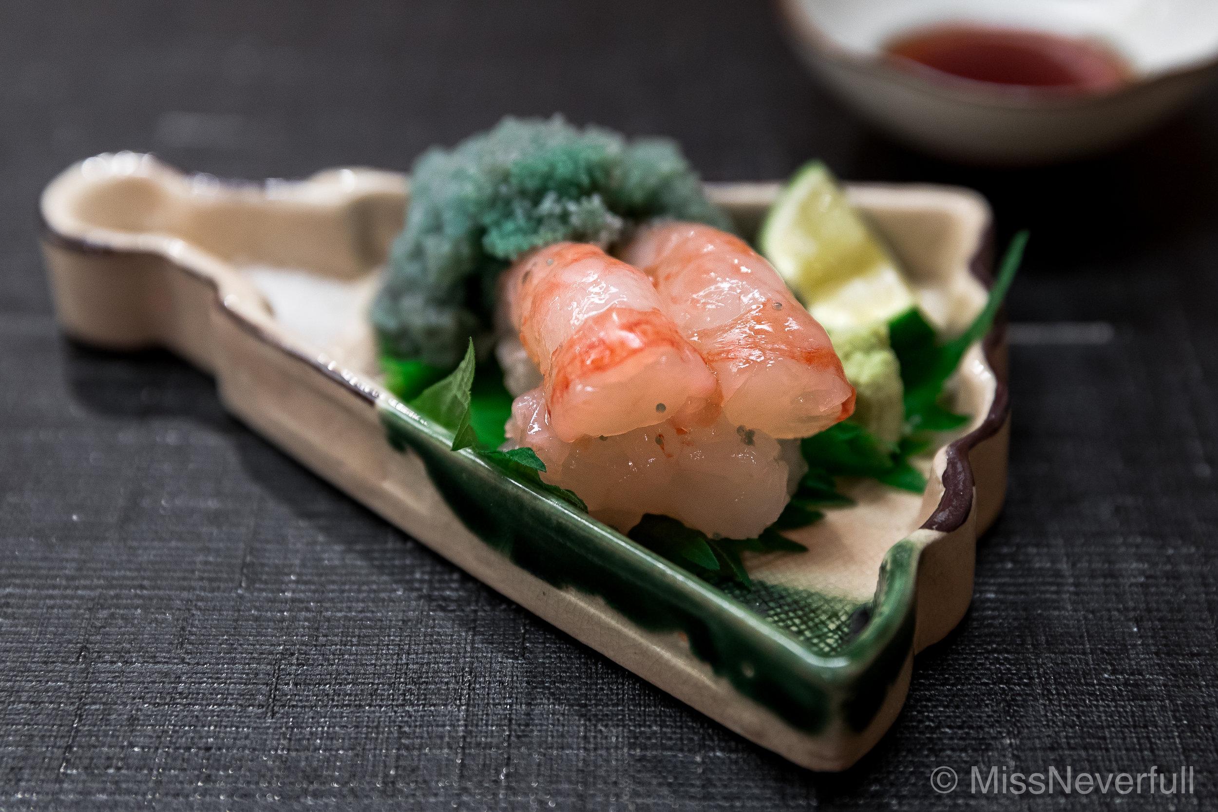 3. Botan ebi sashimi, roes