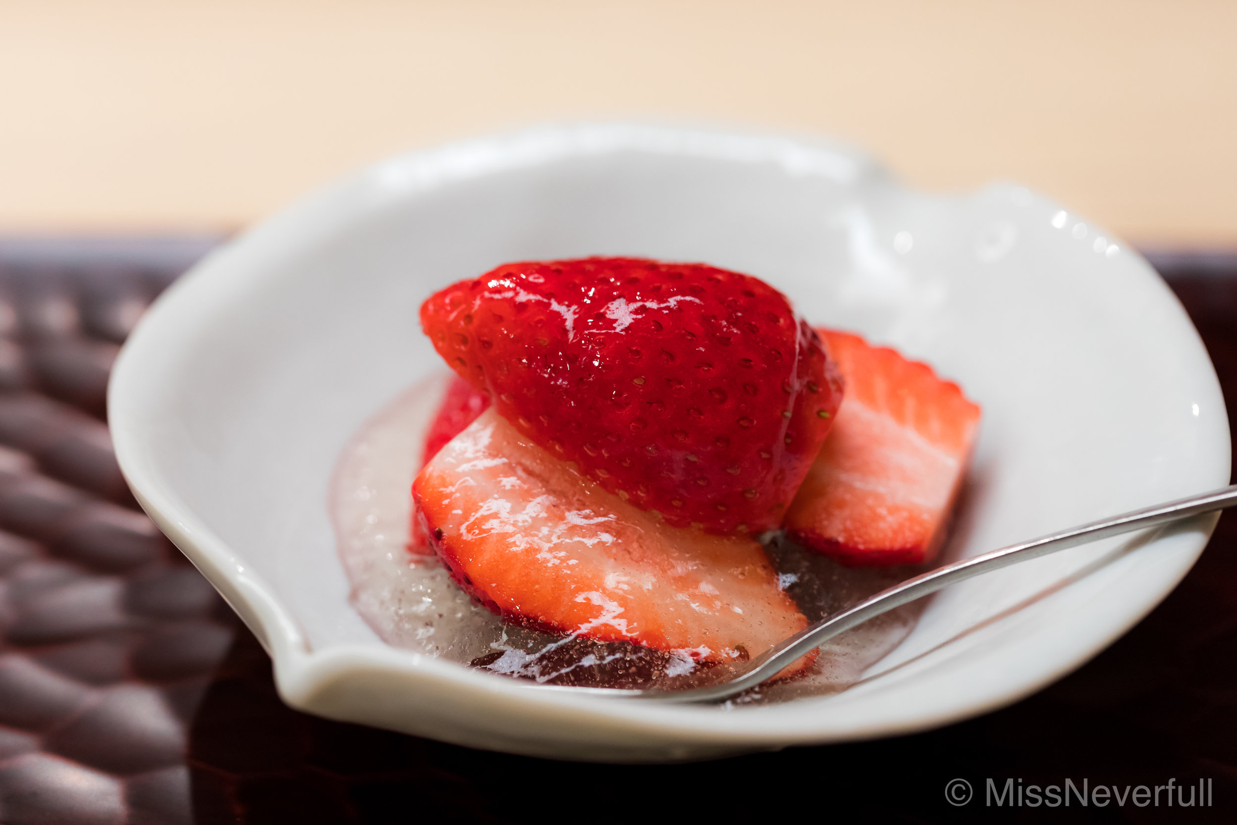 9. Dessert: Gunma Yayuhime, strawberry, white wine