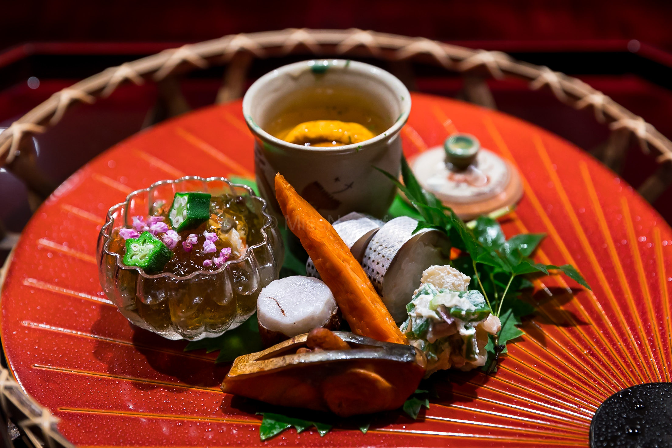 1. Murasaki uni chawanmushi, Hokkaido kegani 🦀️with dashi jelly and junsai, Kohada bozushi, Sato-imo taro, Grilled saba and walnut, Grilled bachiko, Myoga ginger and white seasame sauce