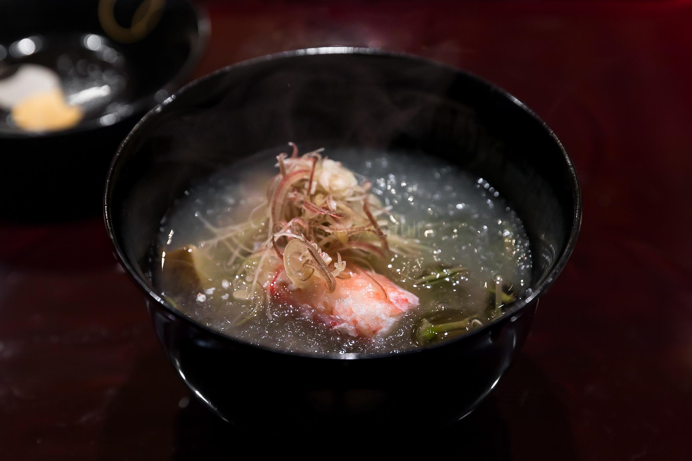5. Awabi and kani 🦀️ soup with junsai (water shield) | 鮑と蟹のお椀