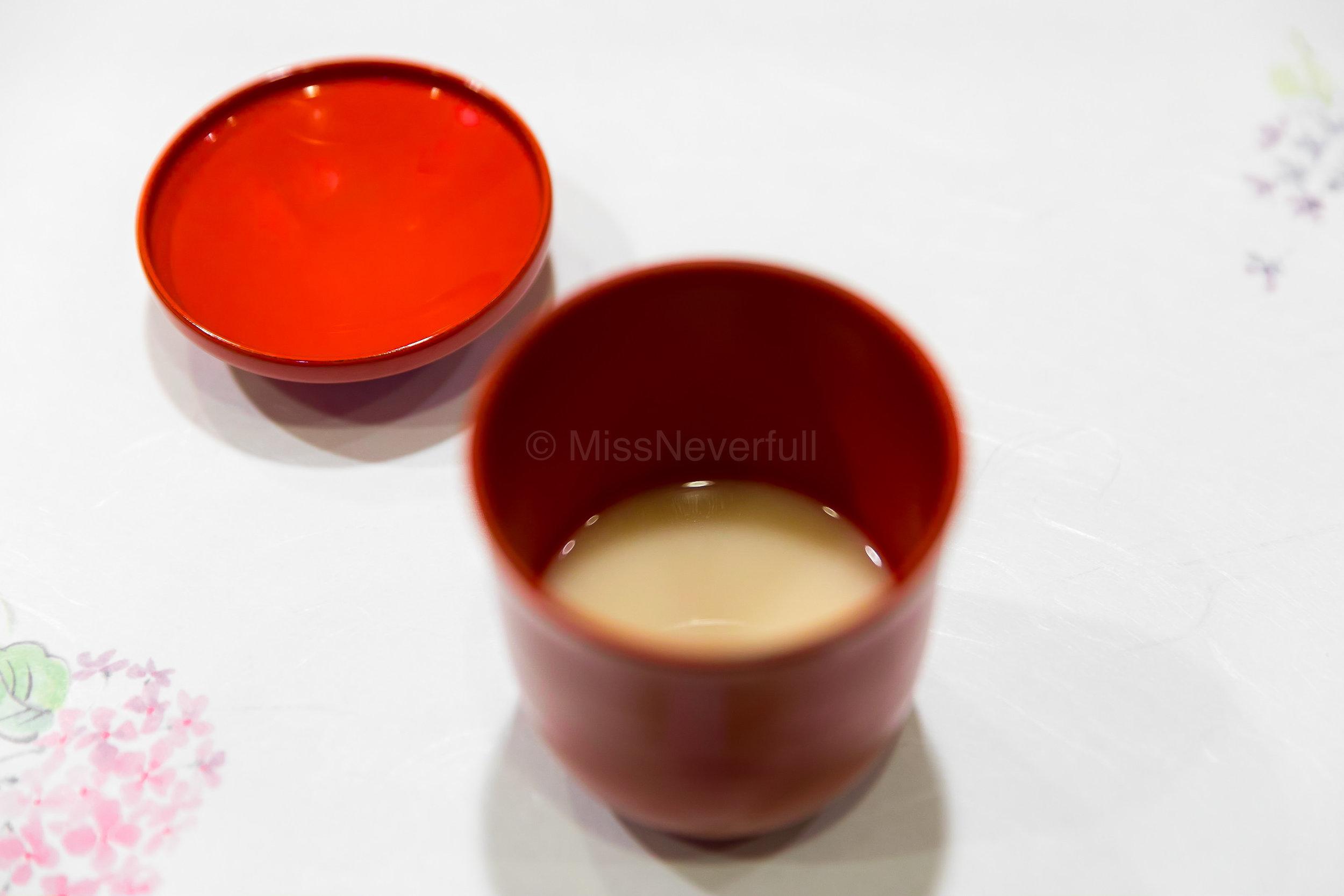 1. White miso soup, Yomogi mochi, ginger