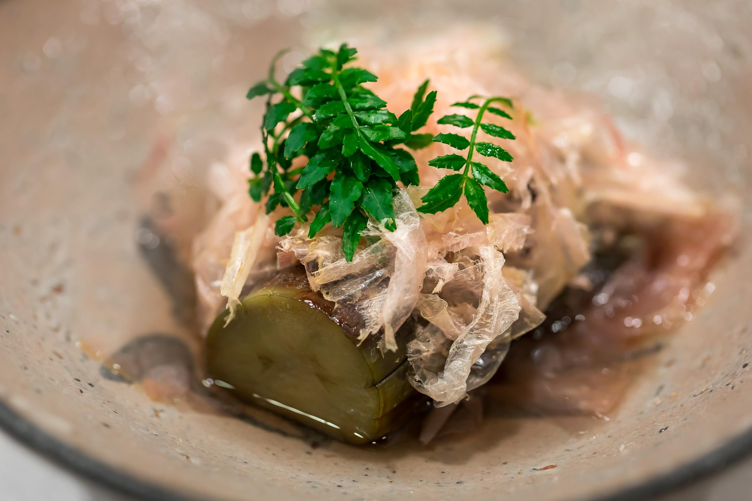 4. Kamo-nasu (eggplant), katsuobushi and kinome