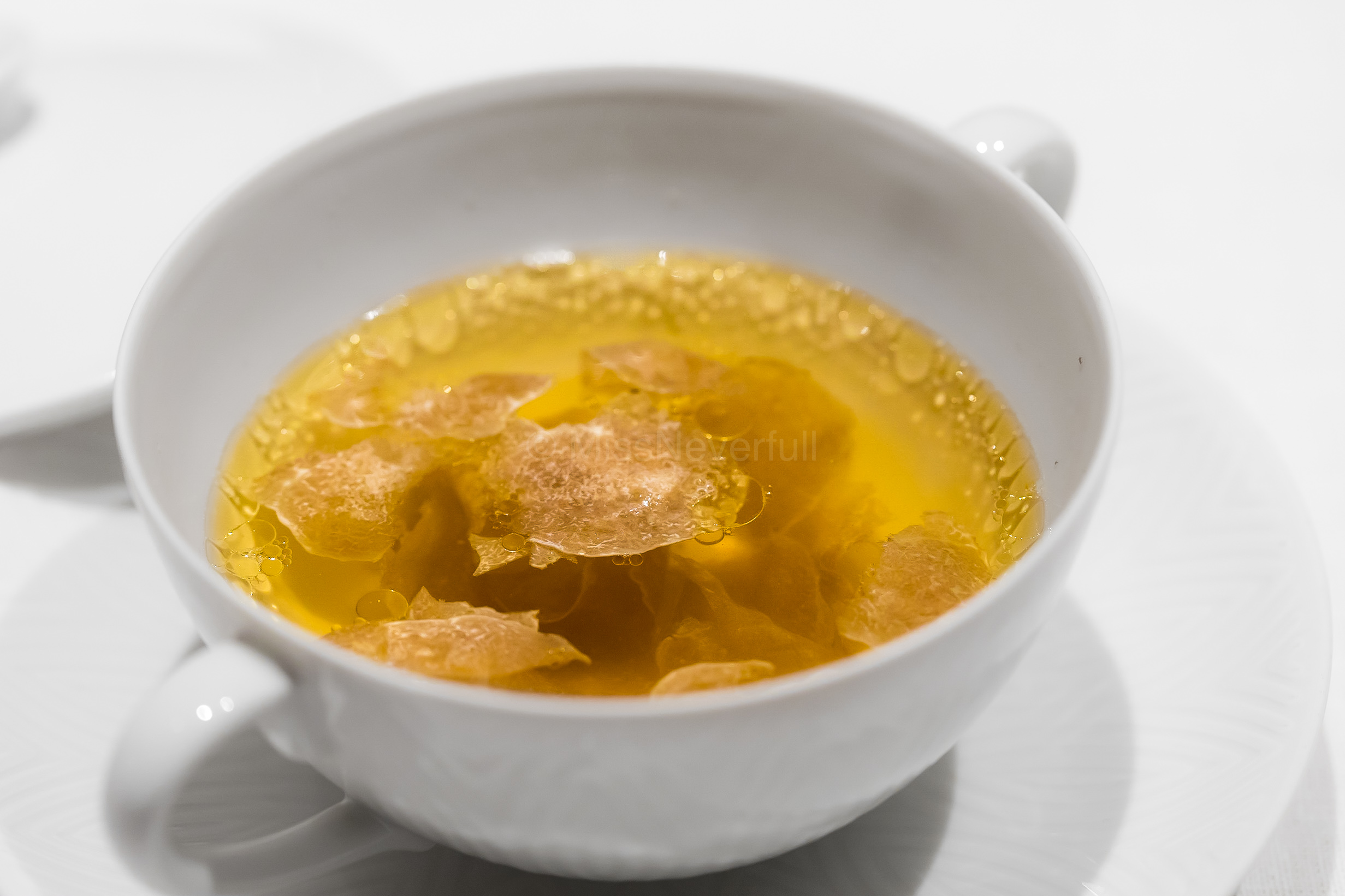 Late Autumn (white truffle season) | Consomme of Gifu ham, Alba white truffle