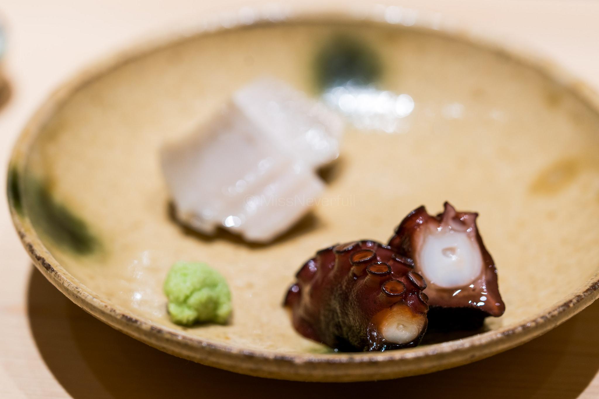 蛸の桜煮 蒸し黑鮑 / Cooked Octopus &Steamed Black Abalone