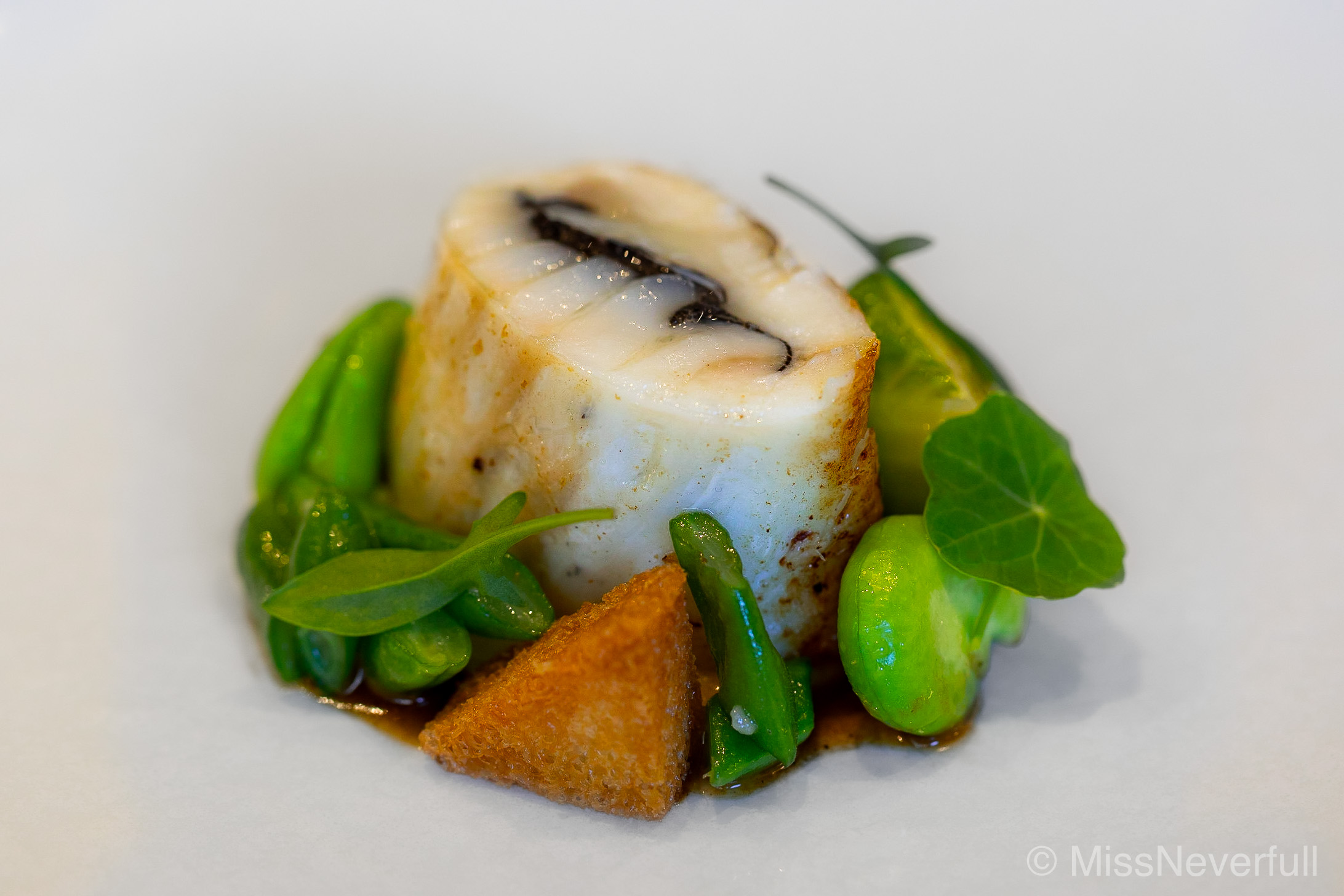5. Hirame (Japanese flounder), Broad Beans, Crutons