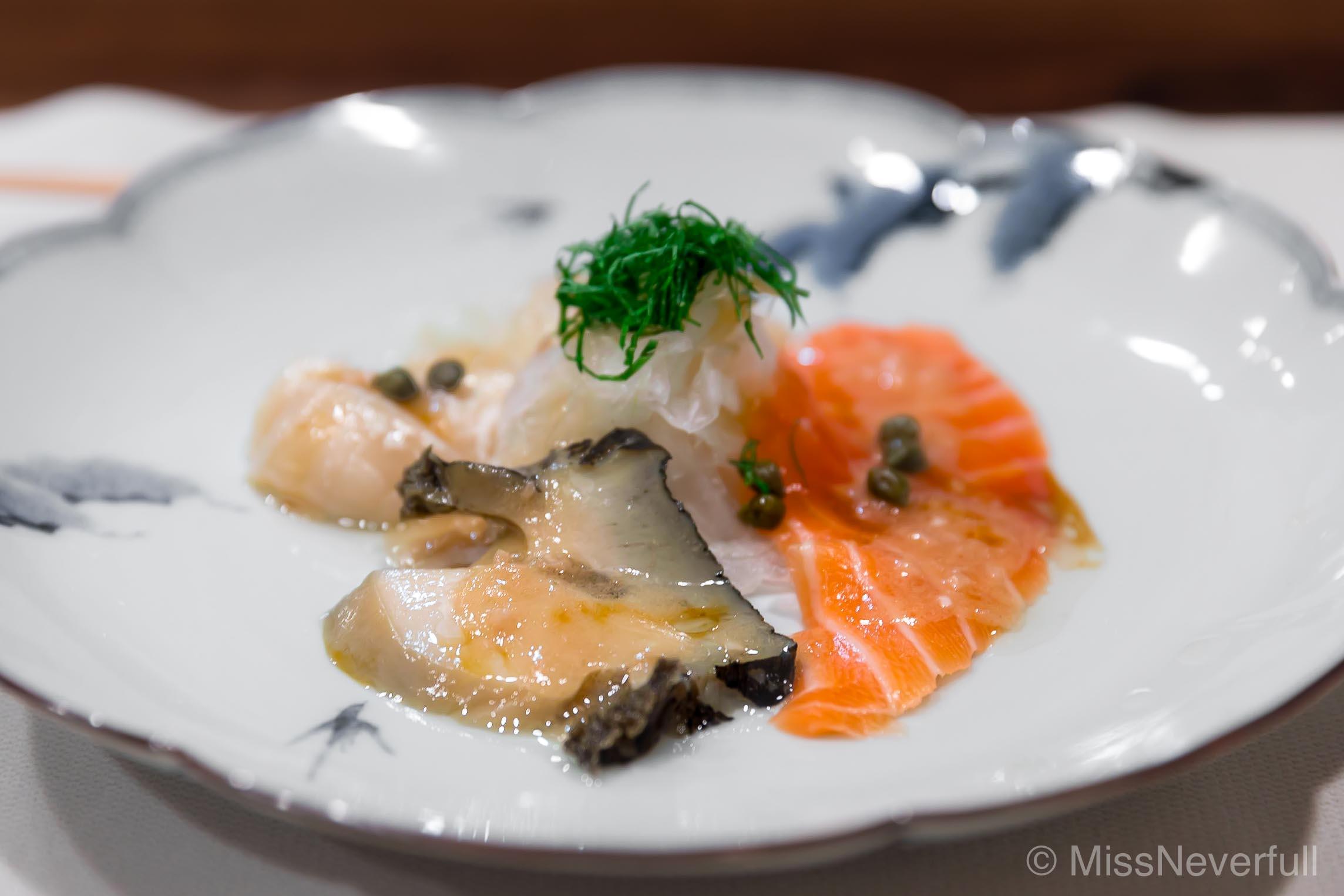 1. Sashimi Platter (Tai, smoked salmon, and abalone cut)