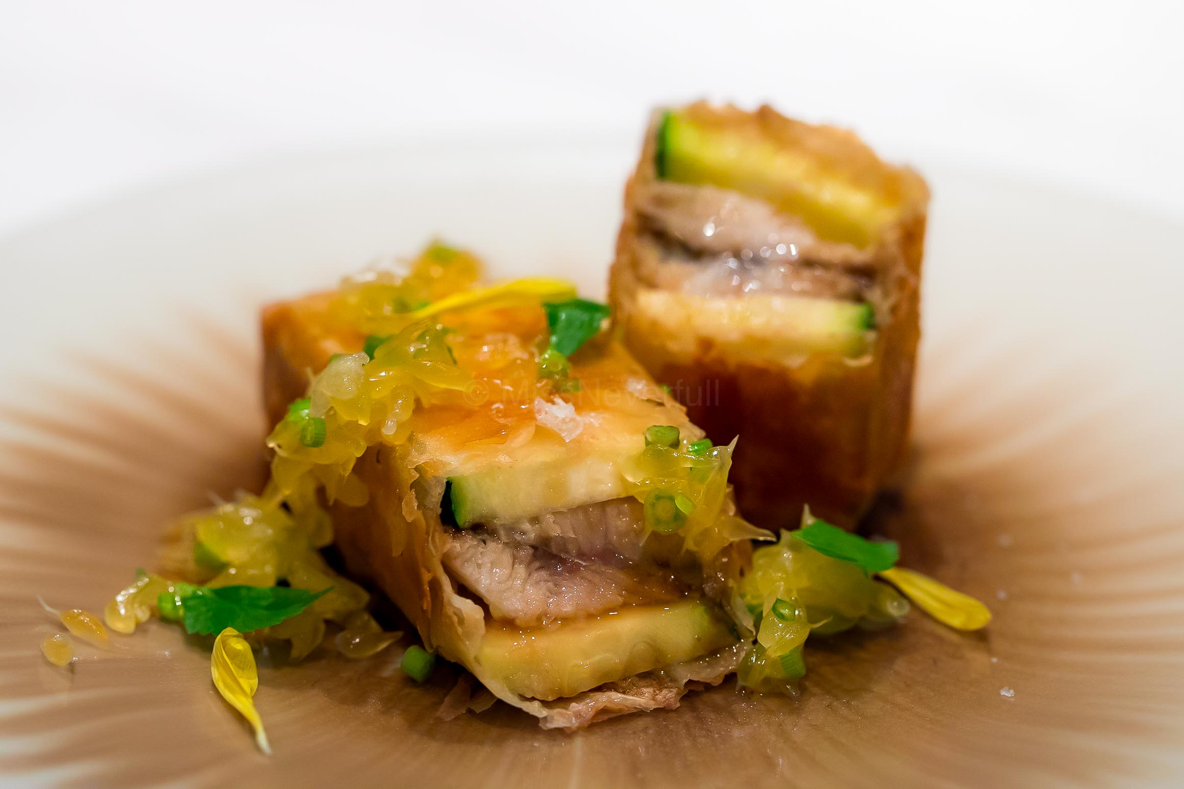 2. Ayu (sweetfish) and zucchini pate filo, Ayu liver sauce and Amanatsu citrus / 鮎とズッキーニのパートファロー包み 鮎肝のソース