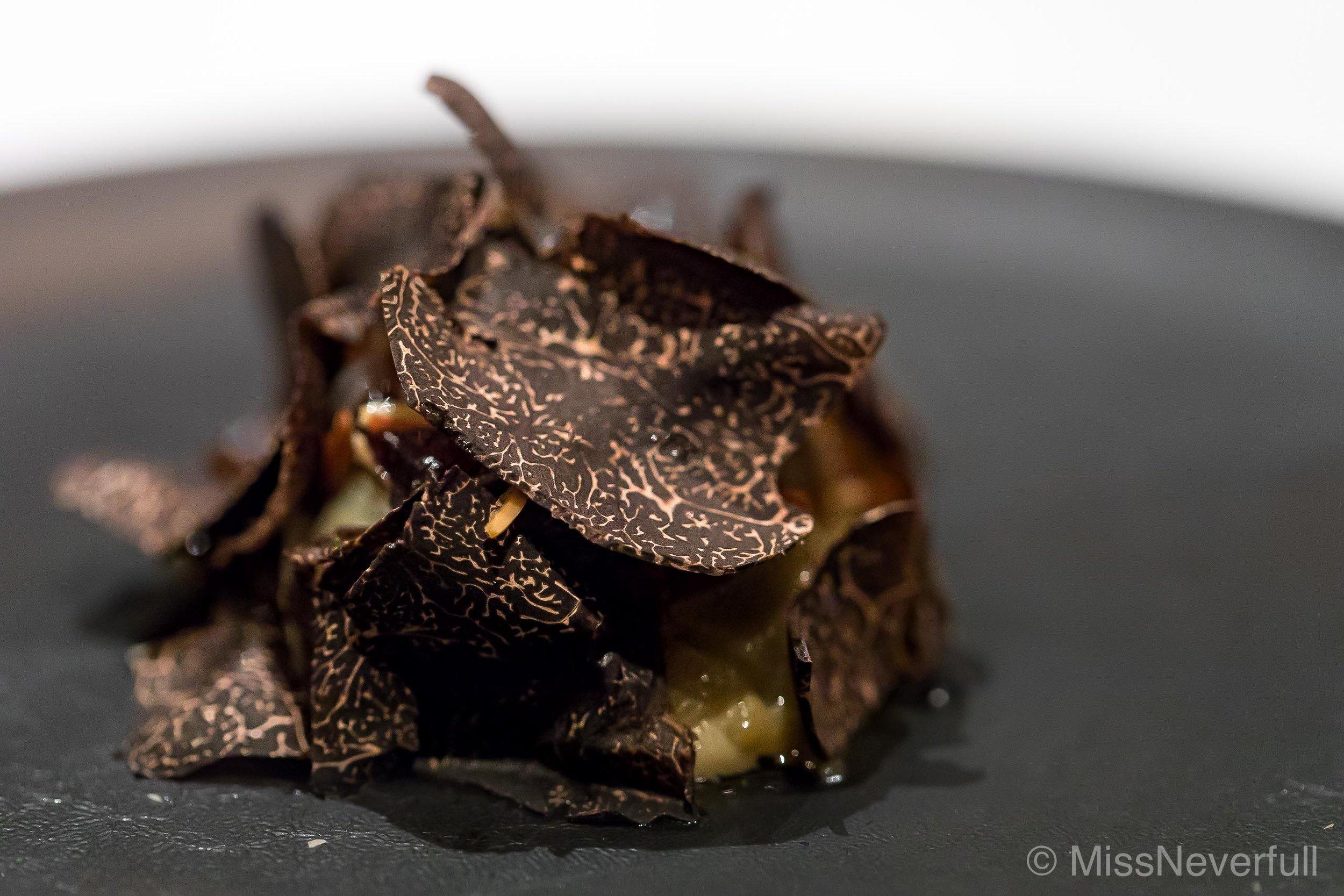 4.Inoshishi (boar) cheek, Inoshishi consomme, kamo-nasu (eggplant), summer truffle / イノシシ頰肉の煮入み 賀茂茄子とサマートリュフ