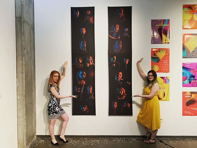 "Vana White ain't got nothin' on us! Millennium's composer/songwriter Kelly Catlin and graphic artist Clare Nunley show off their form at the Graphic Design BFA exit show where Millennium also performed ""The Wild Ones."" . . . . . . #millennium #millenniummovement #artandmusic #graphicdesign #artschool #designstudent #artist #flute #oboe #clarinet #bassoon #horn #violin #viola #cello #recordingartist #music #musician #recordingstudio #indieorchestra #orchestra #poporchestra"