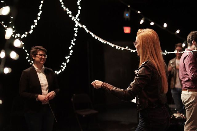 Founder and songwriter Kelly Catlin (right) trying to conduct the conductor (left) . . . . . . . . . #millenniummovement #millennium #indieorchestra #poporchestra #composer #womencomposers #producer #musician #music #atlantamusicians #athensmusicians