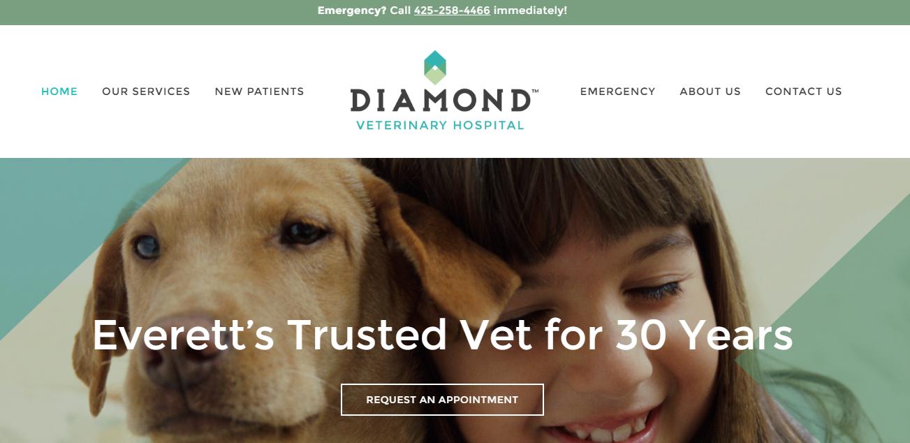 New diamondvet.com home page