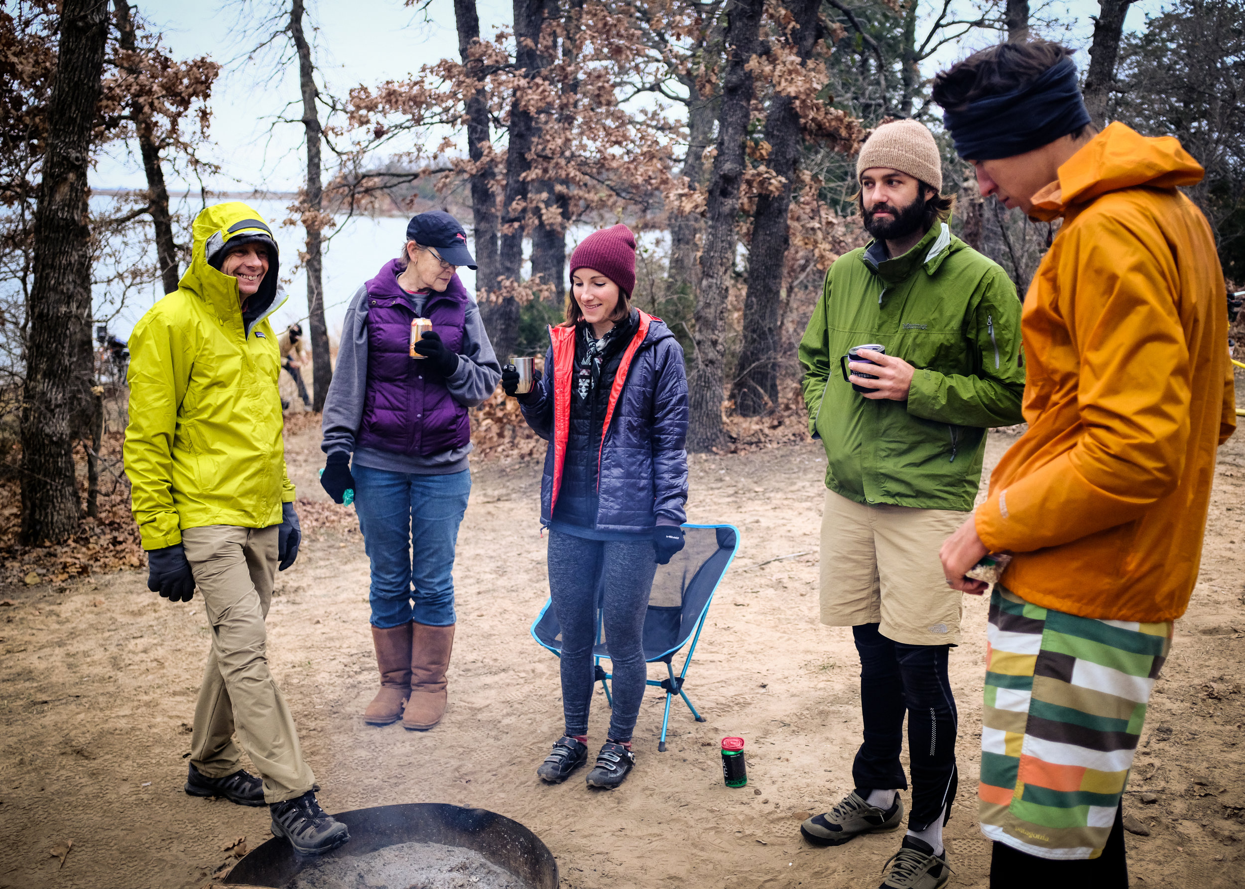 Keith Reed, Cathy Branyan, Sara Siems, Josh McCullock and David Power enjoying a morning brew around the fire