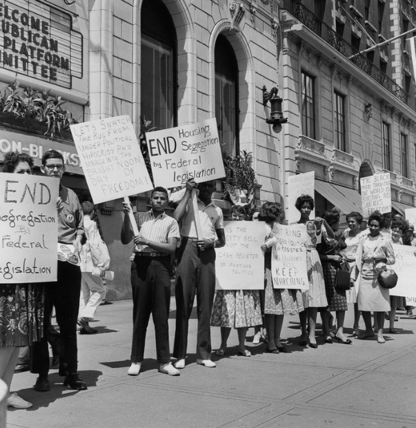 picket line  JULY 21, 1960  Blacks picket for fair housing outside a GOP meeting