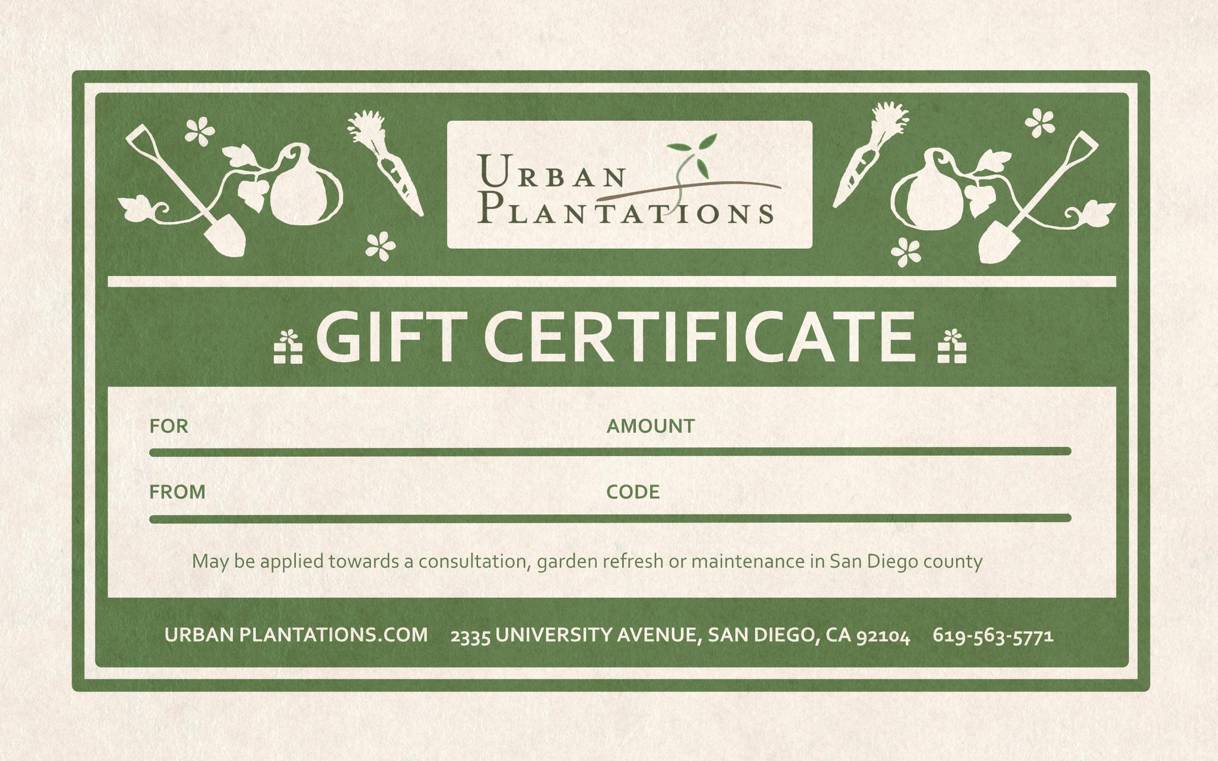 Urban Plantations Gift Certificate