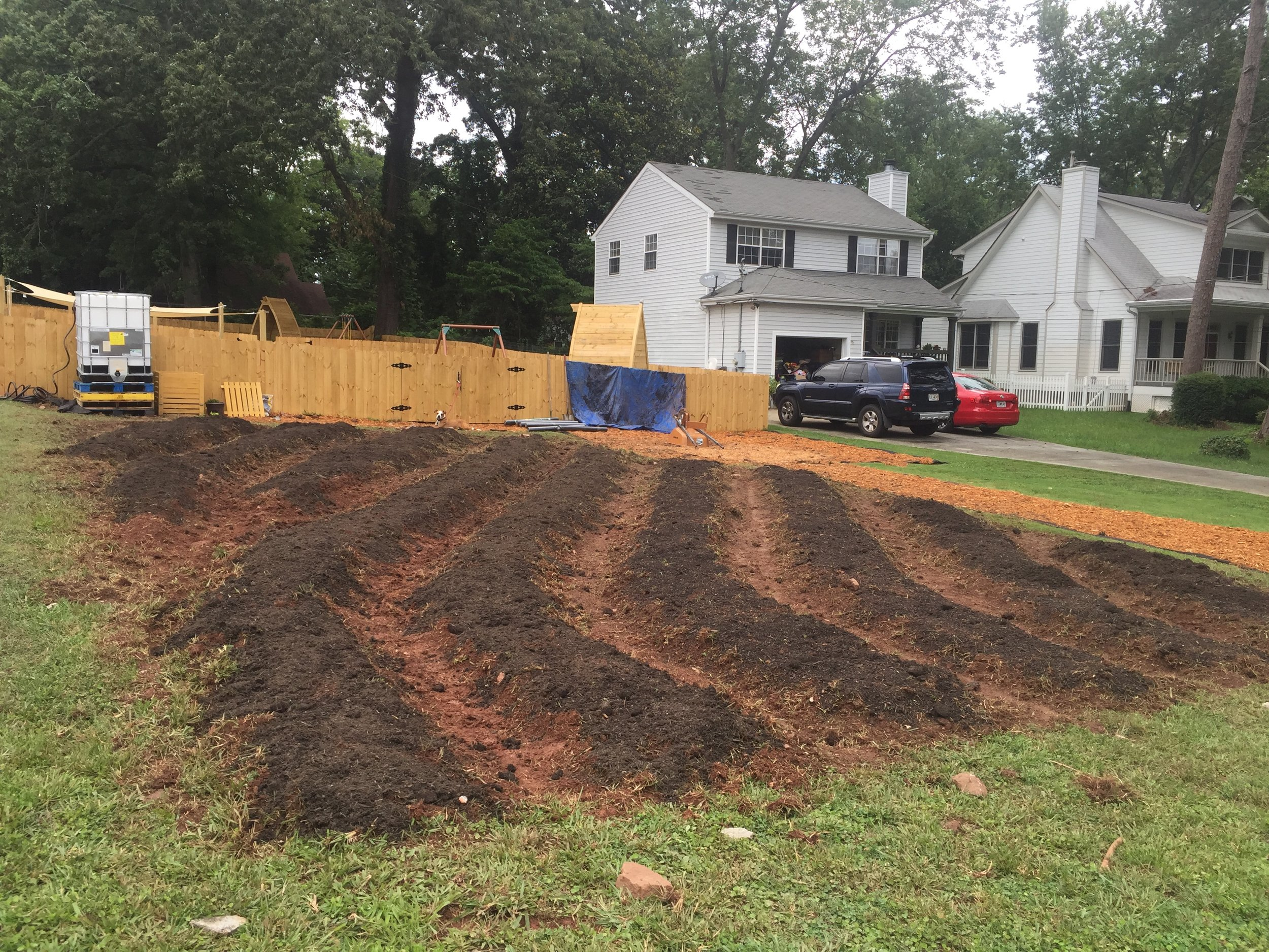 Beds just dug at Decatur in June of 2017 Much work still to be done!