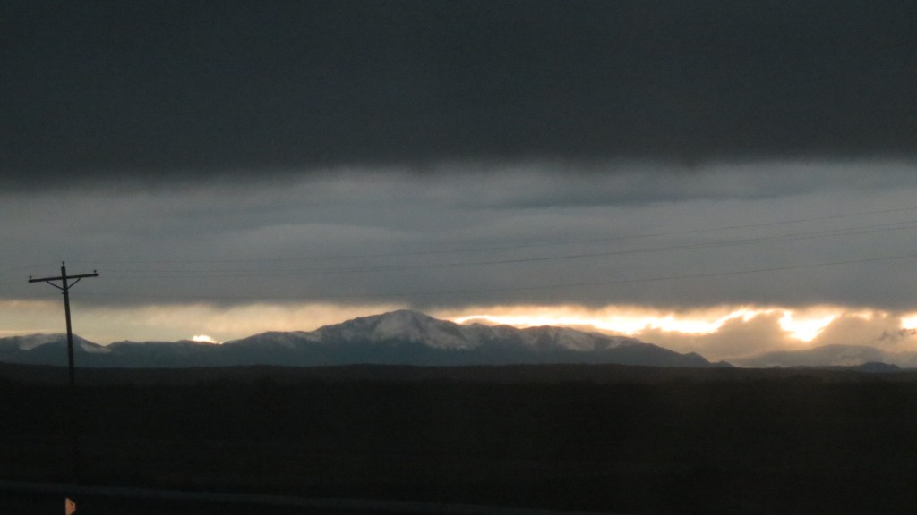 As we drove out of the storm, the Rockies appeared!