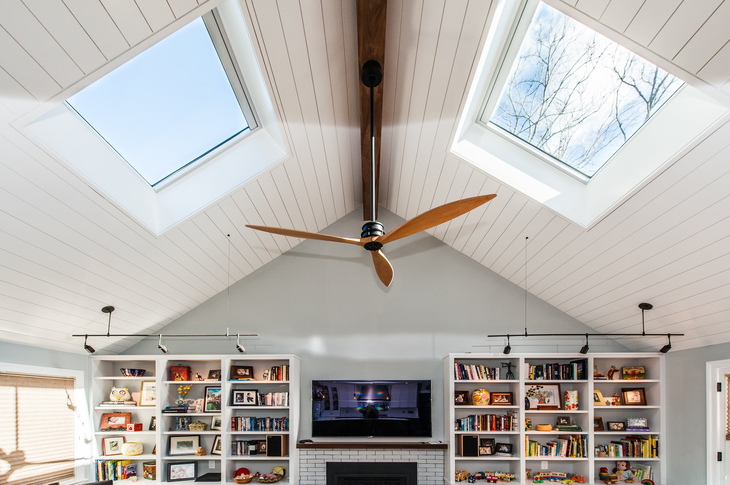 Family Room Renovation with new cathedral slatted ceilings