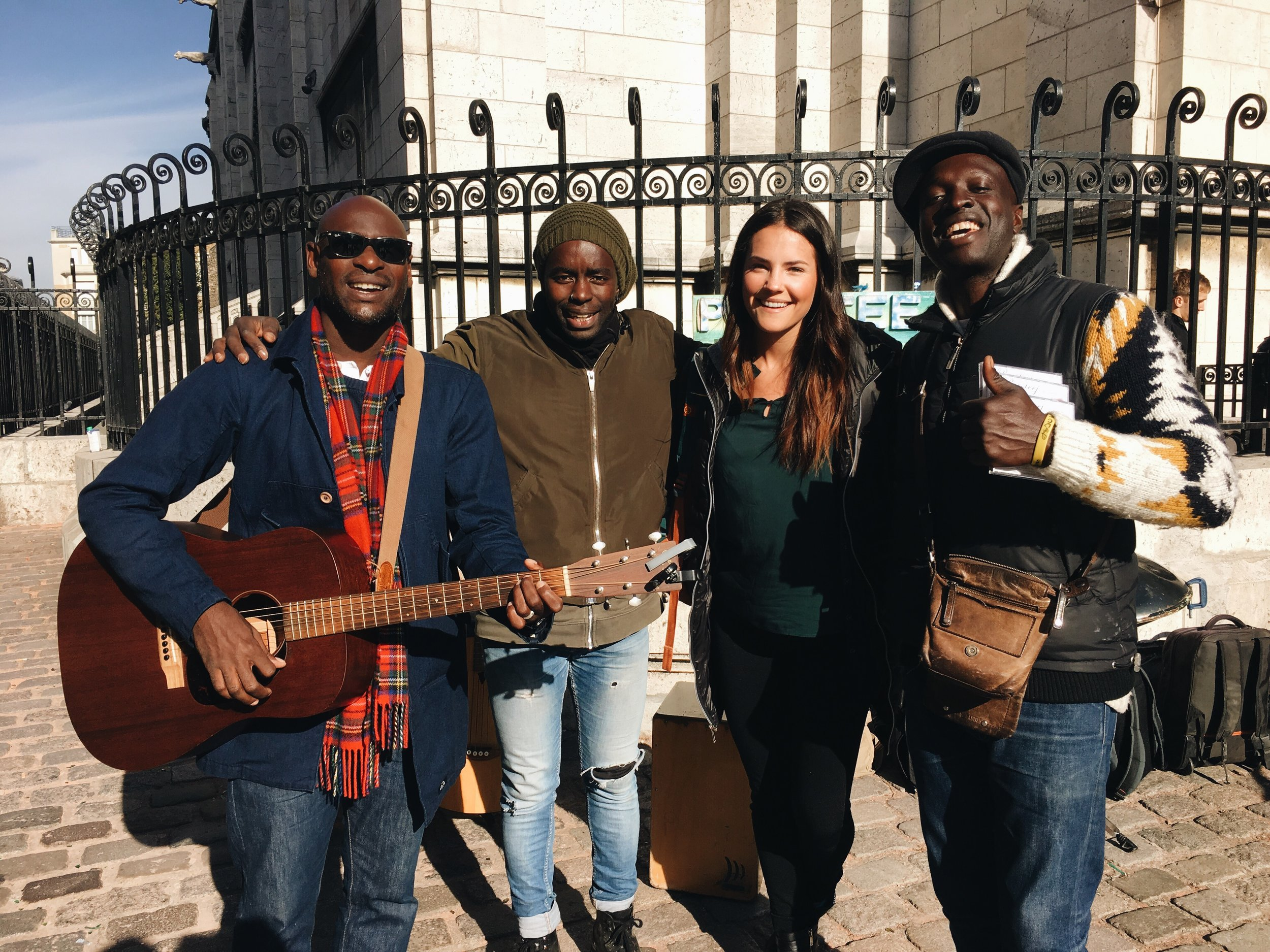 With the street musicians who had voices of angels!