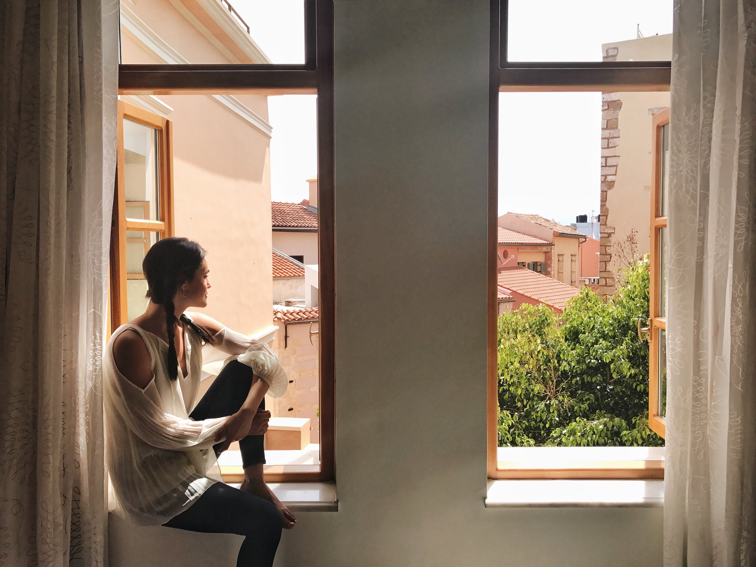 The windows in our lovely room, overlooking the courtyard