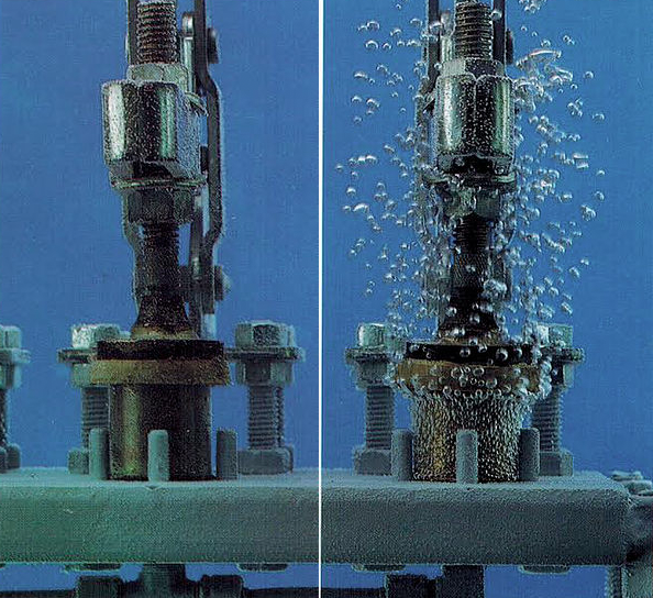 Before (right) and after (left) vacuum impregnation