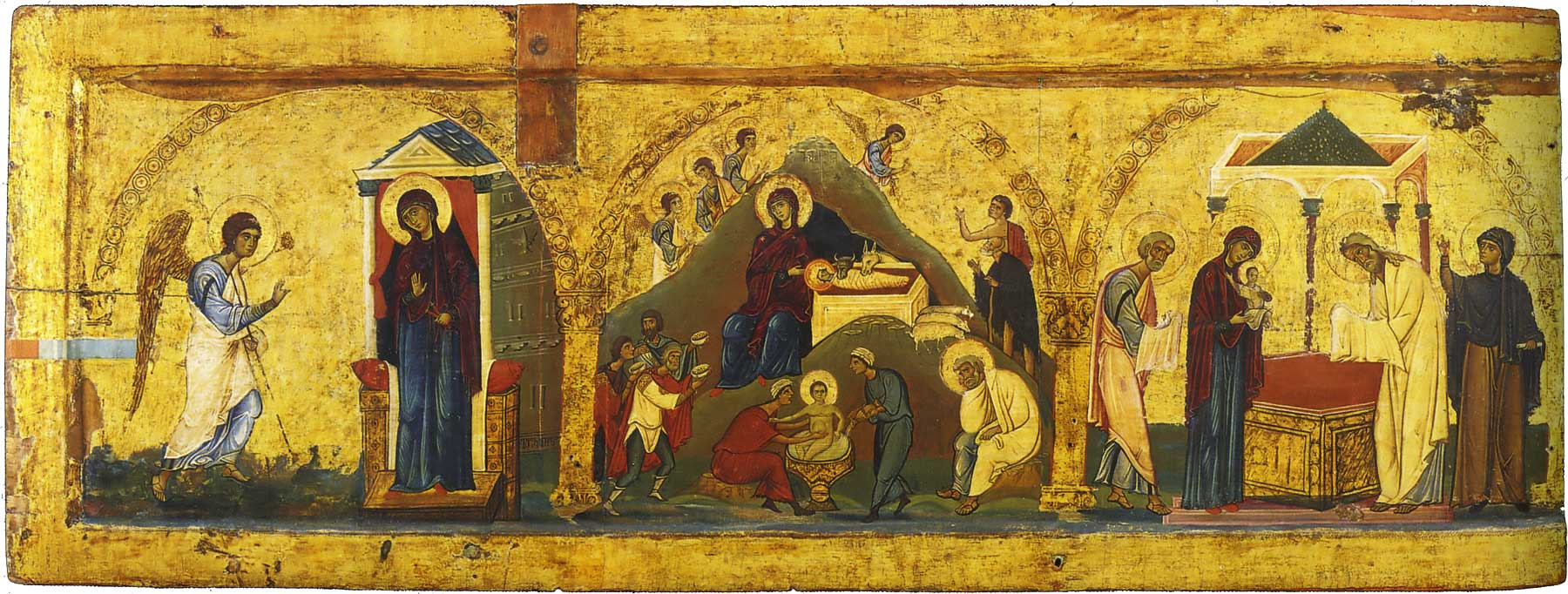 Annunciation, nativity, and temple blessing (peace)