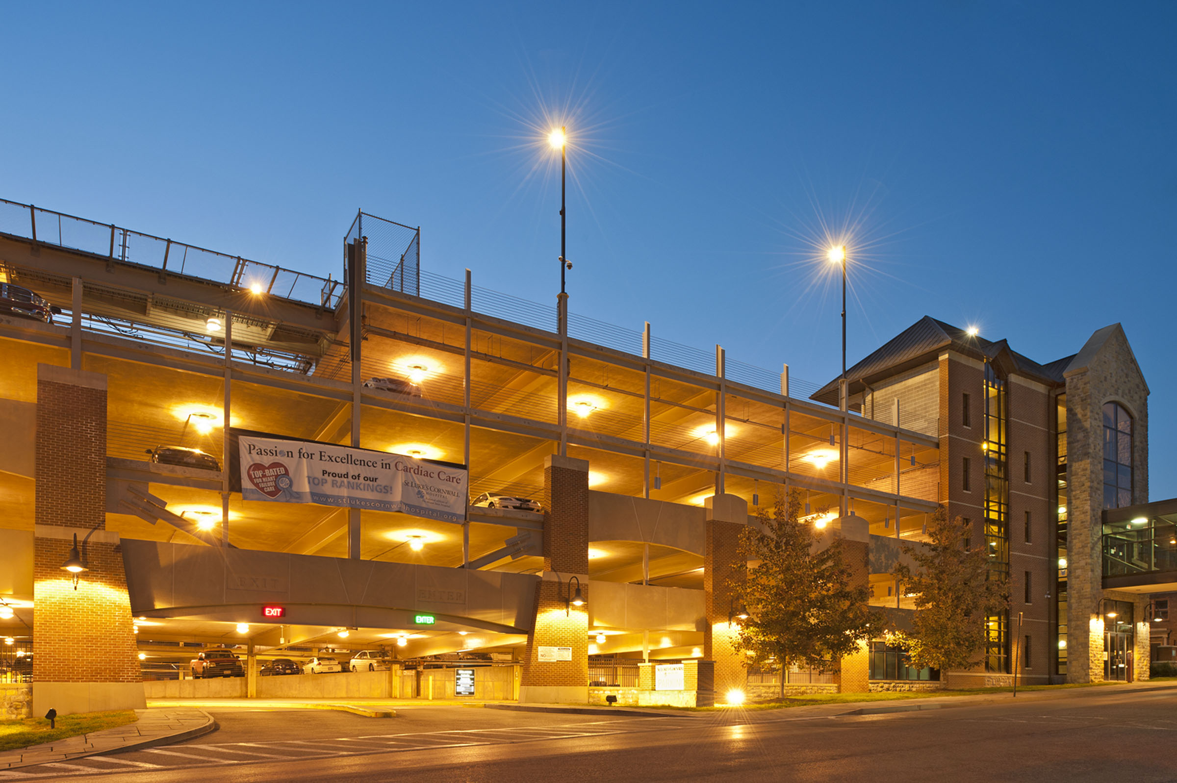 St. Luke's - exterior garage at entry - night.jpg