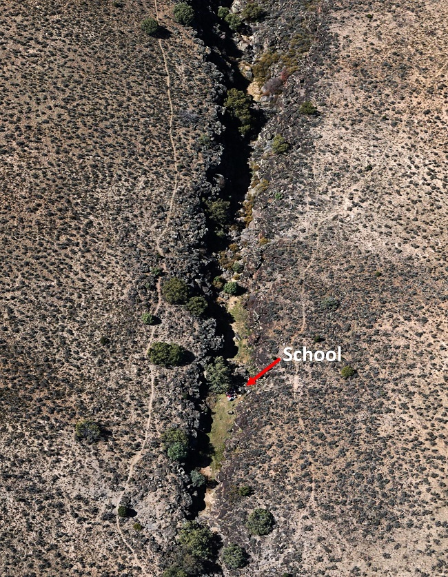 That tiny spot of color is our kindergarten class in Bone Canyon, a small side canyon off the Rio Grande Gorge.